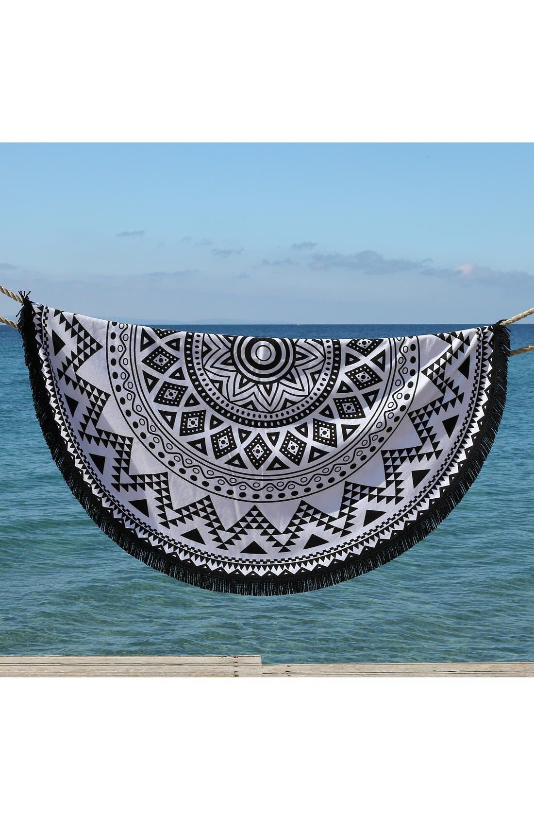 'Kilim' Turkish Pestemal Round Beach Towel,                             Alternate thumbnail 6, color,                             BLACK/ WHITE