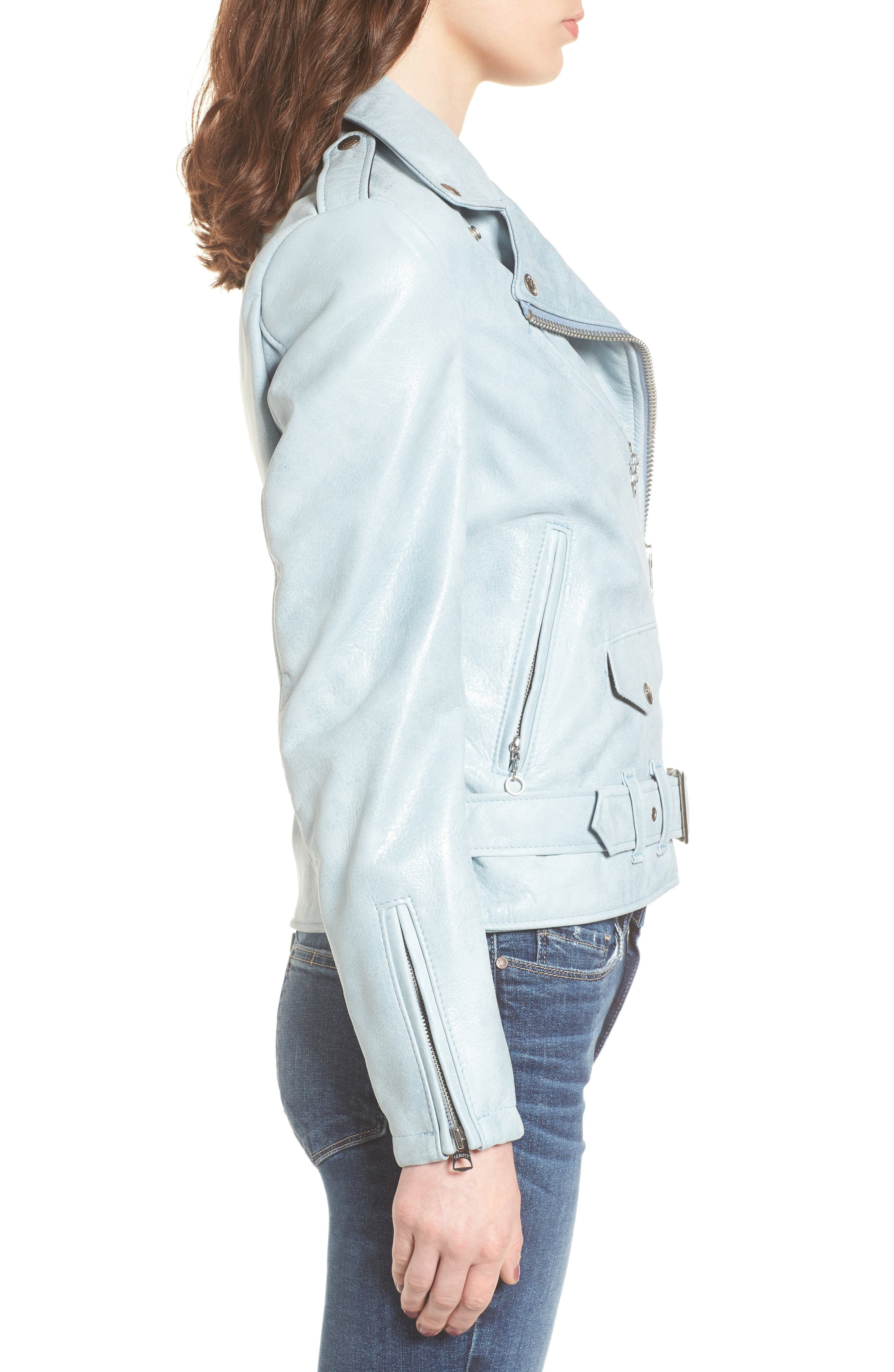 Perfecto Distressed Leather Boyfriend Jacket,                             Alternate thumbnail 8, color,