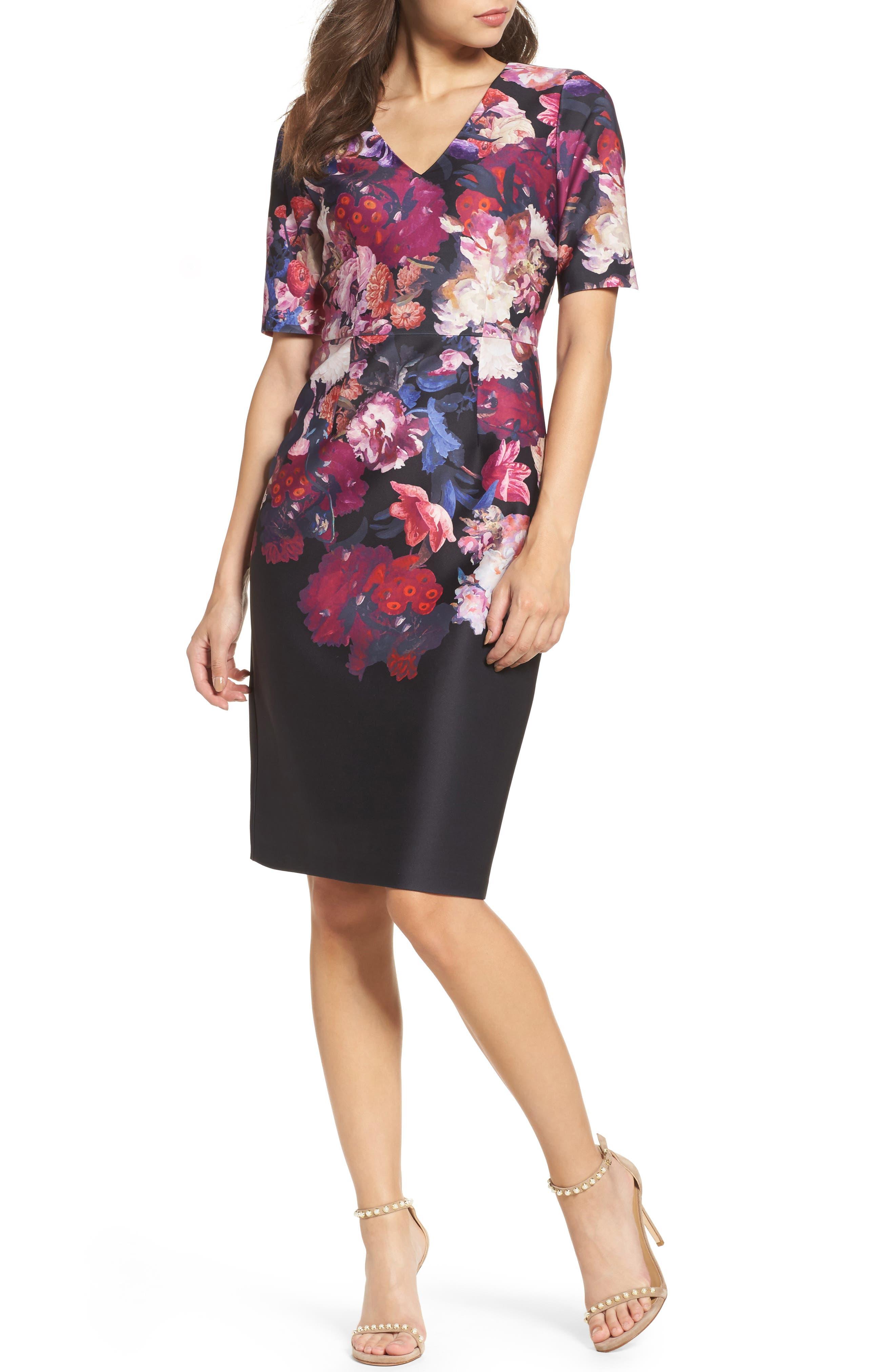 Scuba Sheath Dress,                             Main thumbnail 1, color,