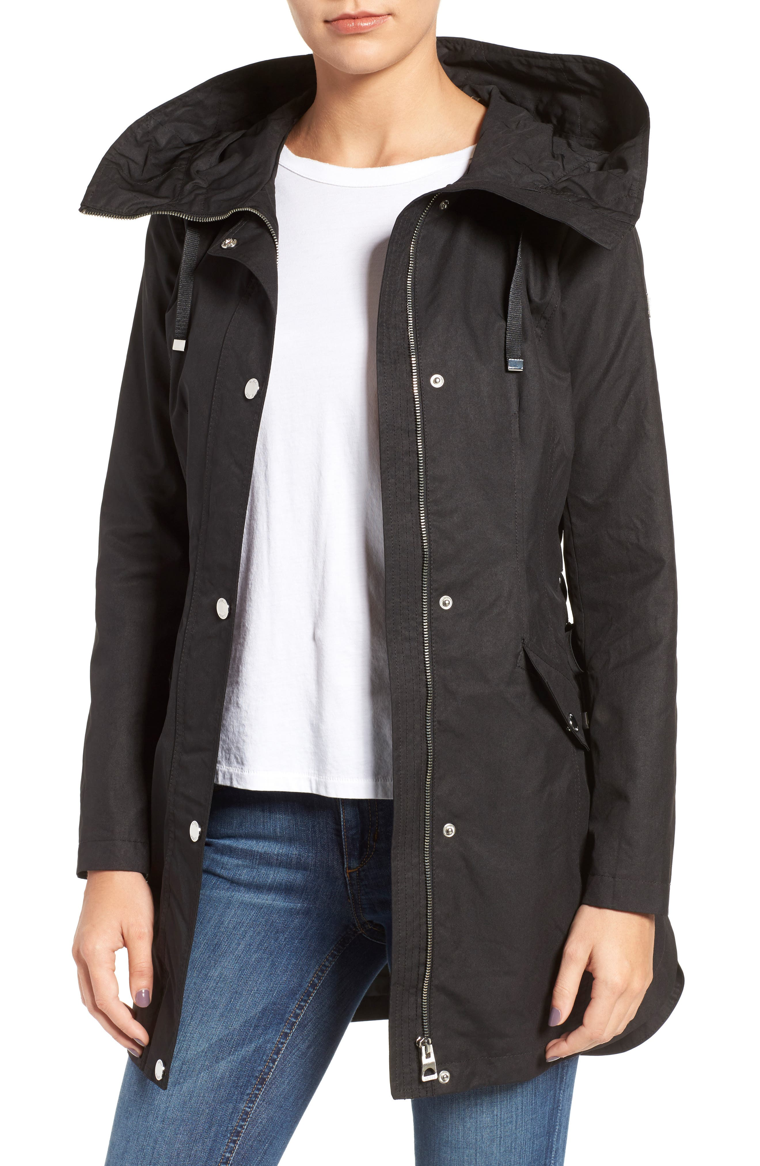 Lace-Up Hooded Utility Coat,                             Main thumbnail 1, color,                             001