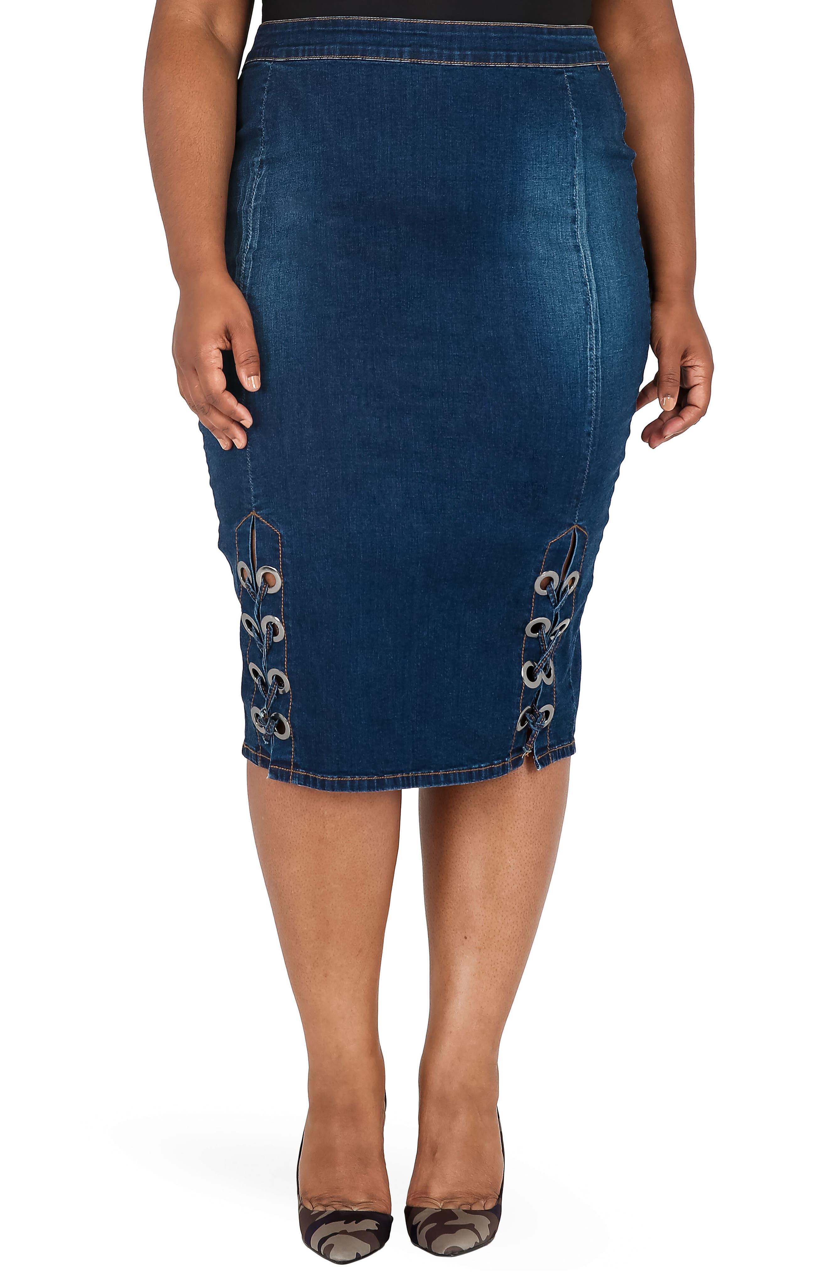 Plus Size Poetic Justice Eula Denim Skirt, Blue