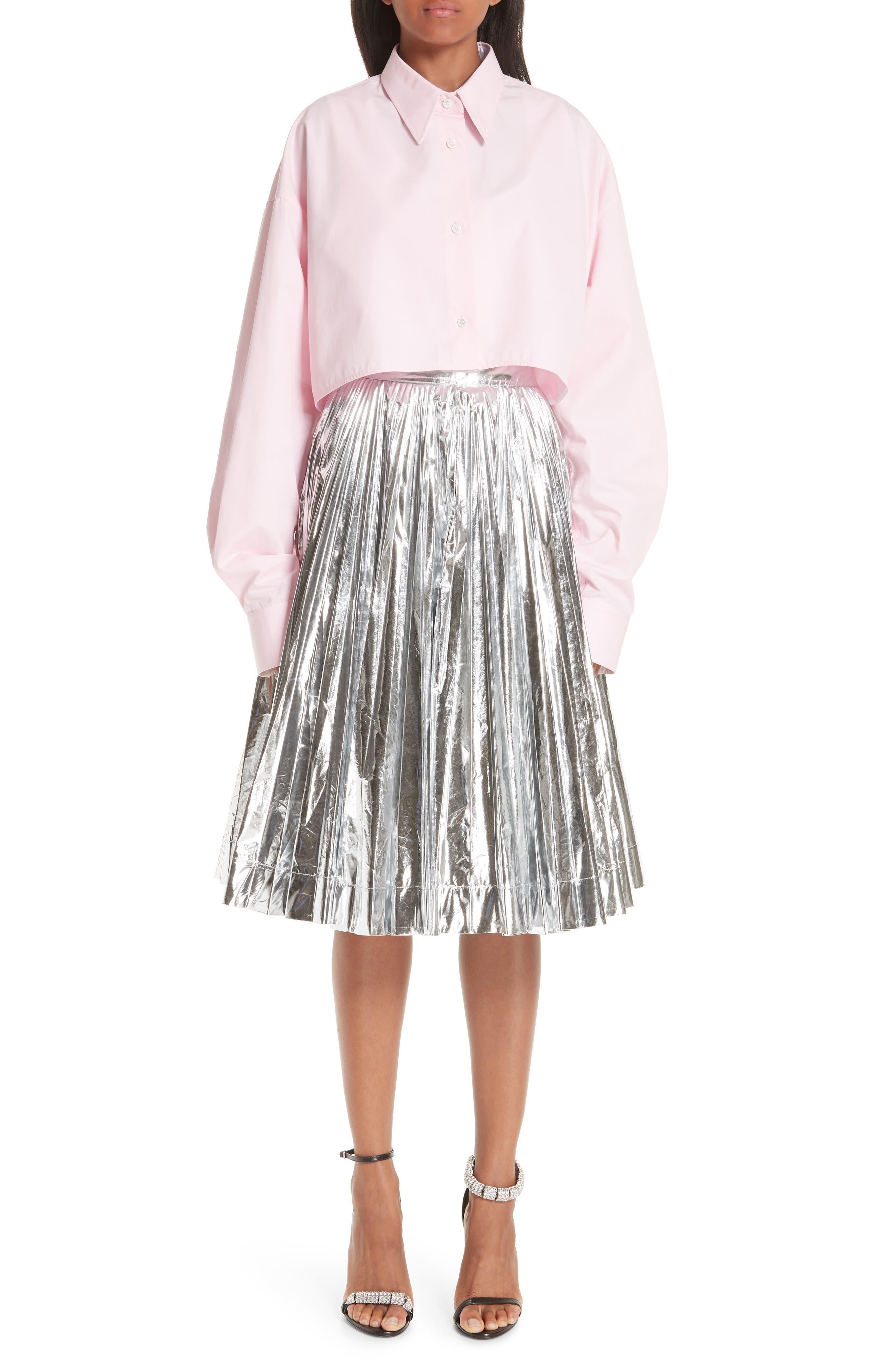 Layered Cotton Poplin Shirt,                             Alternate thumbnail 9, color,                             ROSE OPTIC WHITE