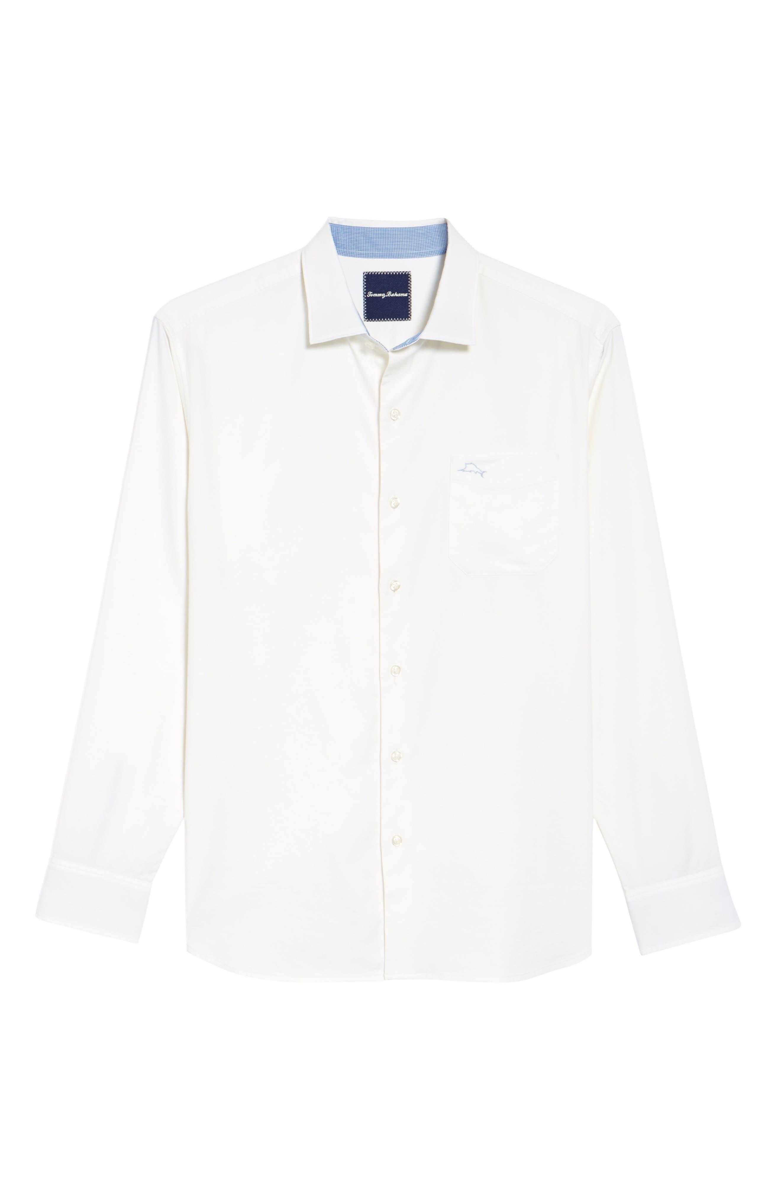 Oasis Twill Sport Shirt,                             Alternate thumbnail 6, color,                             WHITE