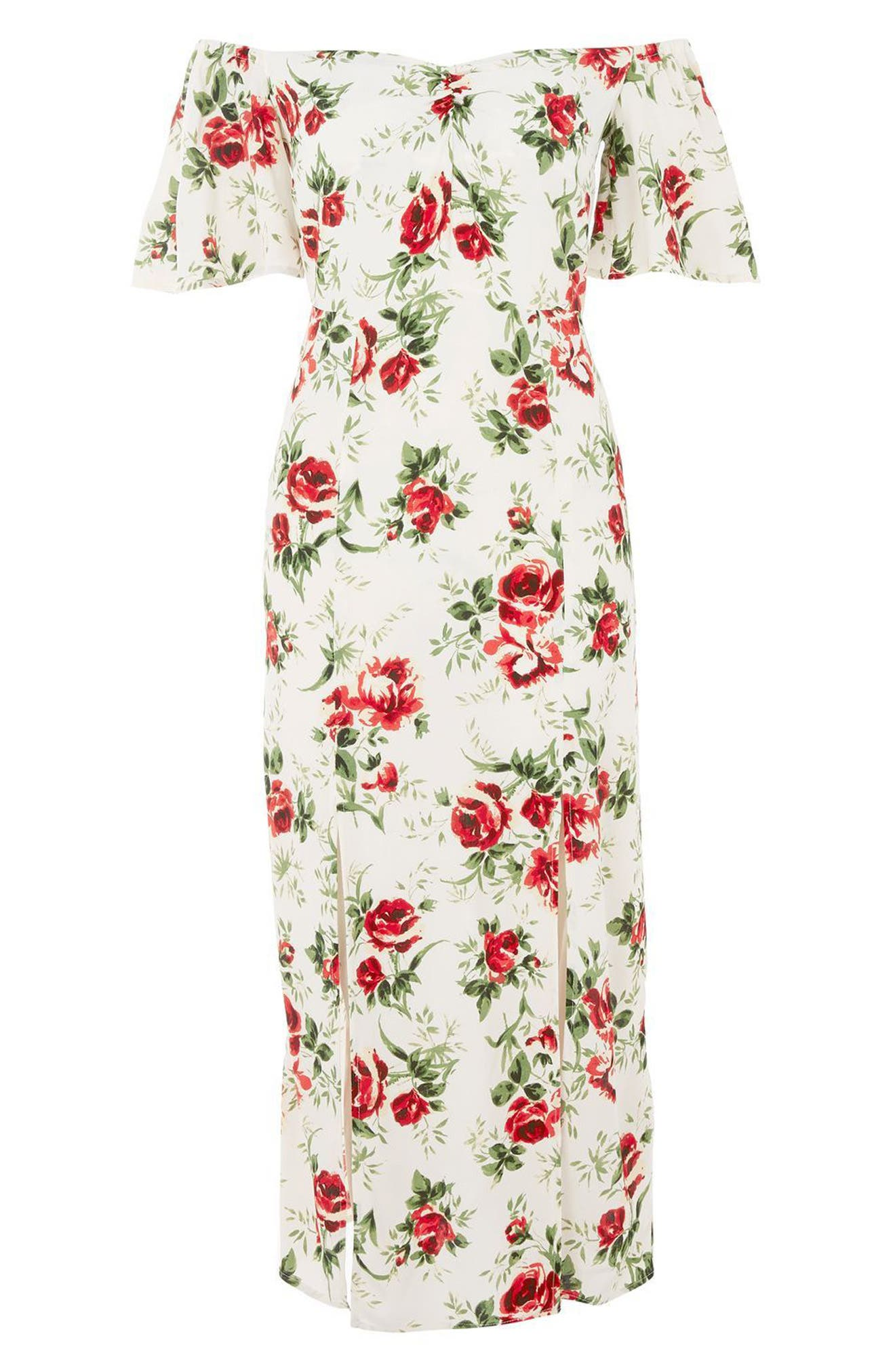 Bardot Rose Print Midi Dress,                             Alternate thumbnail 3, color,                             900