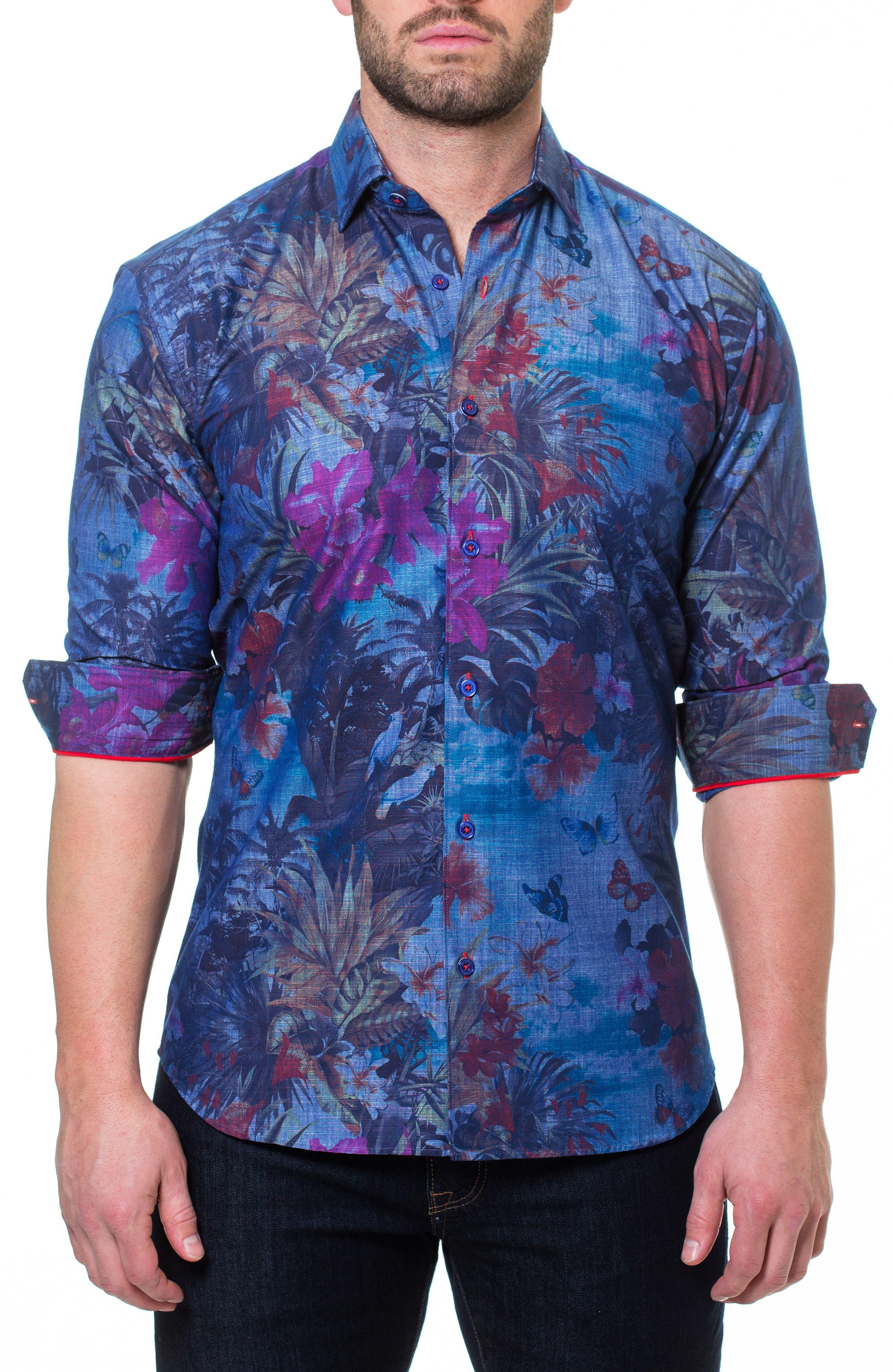 MACEOO,                             Wall Street Paradise Sport Shirt,                             Alternate thumbnail 4, color,                             420