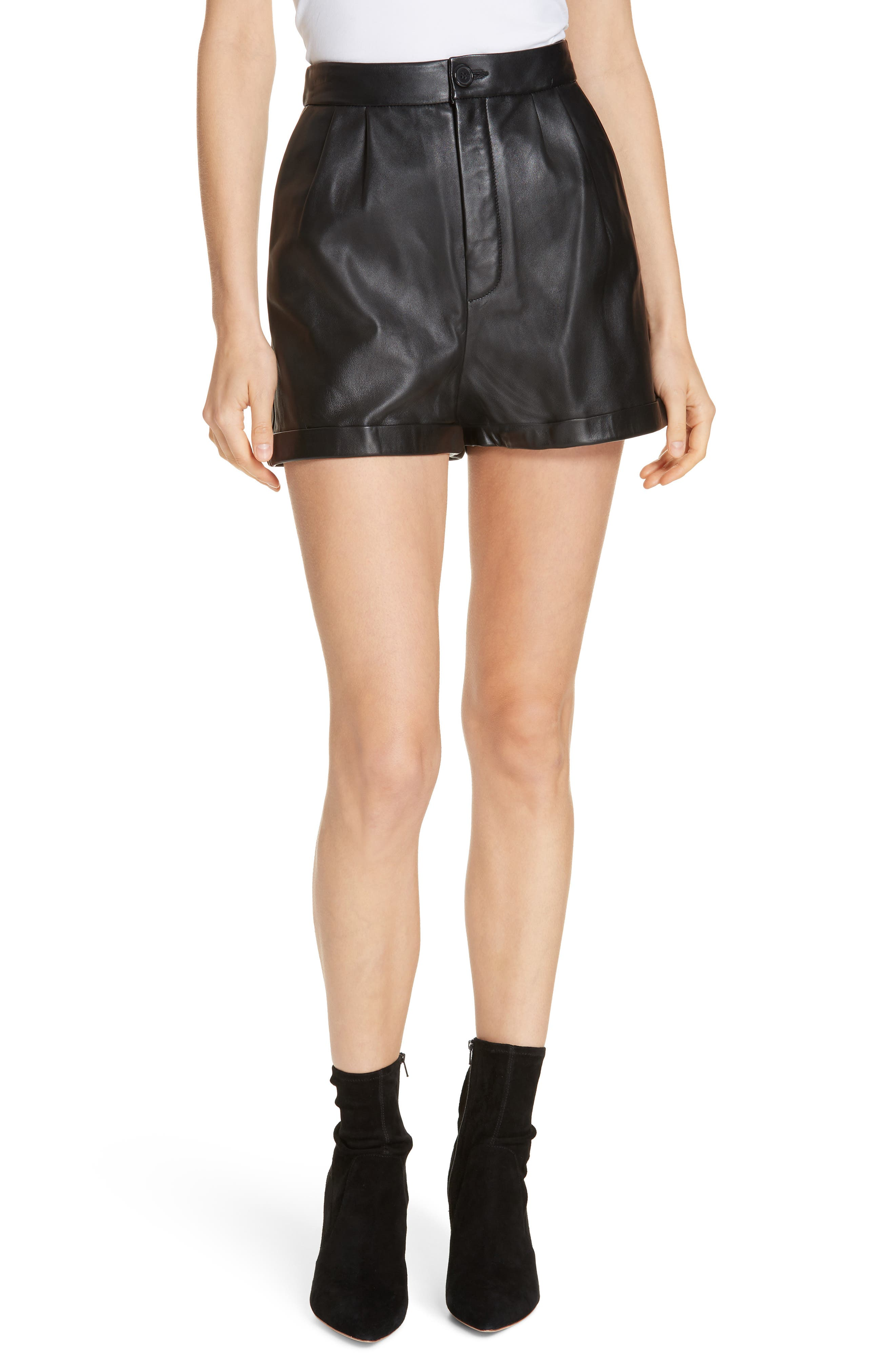 Pleated Leather Shorts,                             Main thumbnail 1, color,                             NOIR