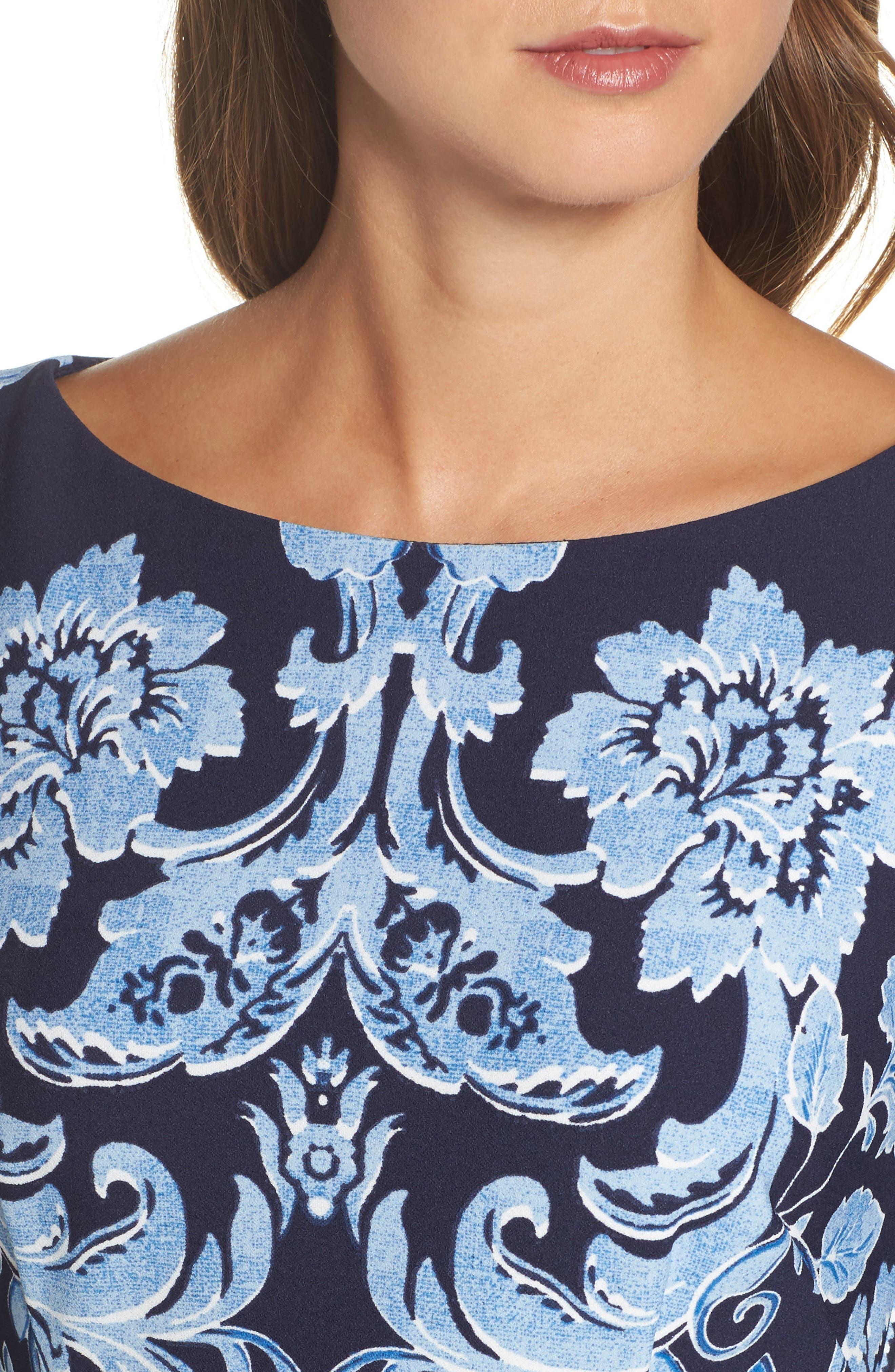 Crepe Sheath Dress,                             Alternate thumbnail 4, color,                             410