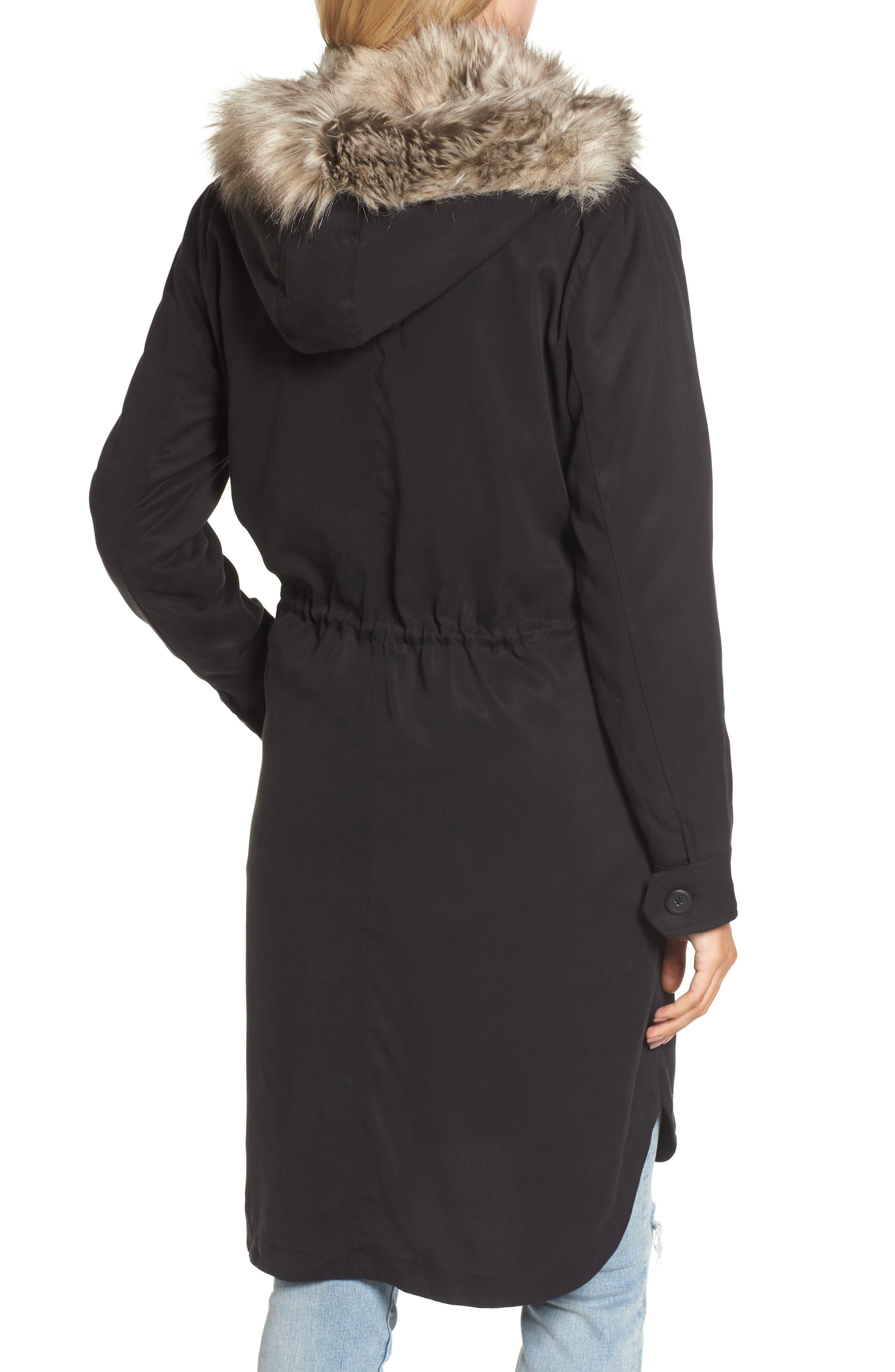 Walsh Tencel<sup>®</sup> Coat with Detachable Hooded Faux Fur Vest,                             Alternate thumbnail 2, color,                             001