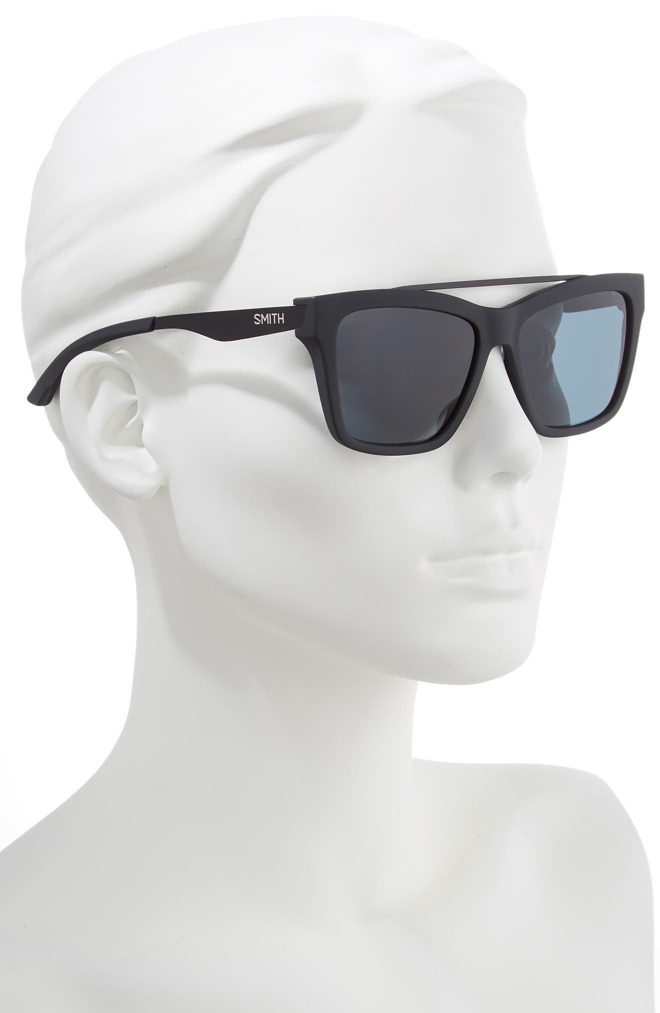 SMITH,                             The Runaround 55mm ChromaPop<sup>™</sup> Polarized Sunglasses,                             Alternate thumbnail 2, color,                             MATTE BLACK