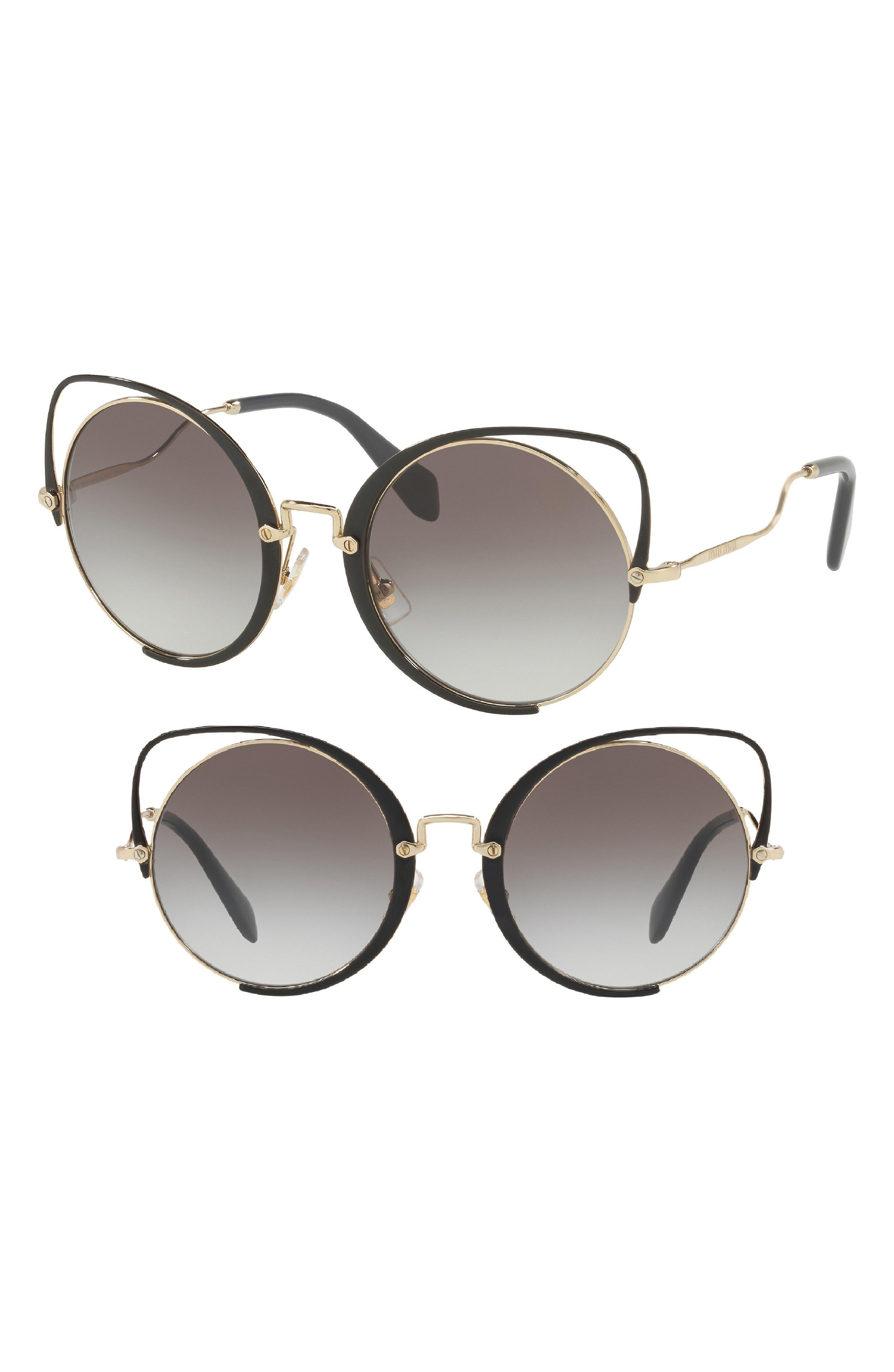 54mm Gradient Round Lens Cat Eye Sunglasses,                             Main thumbnail 1, color,                             010