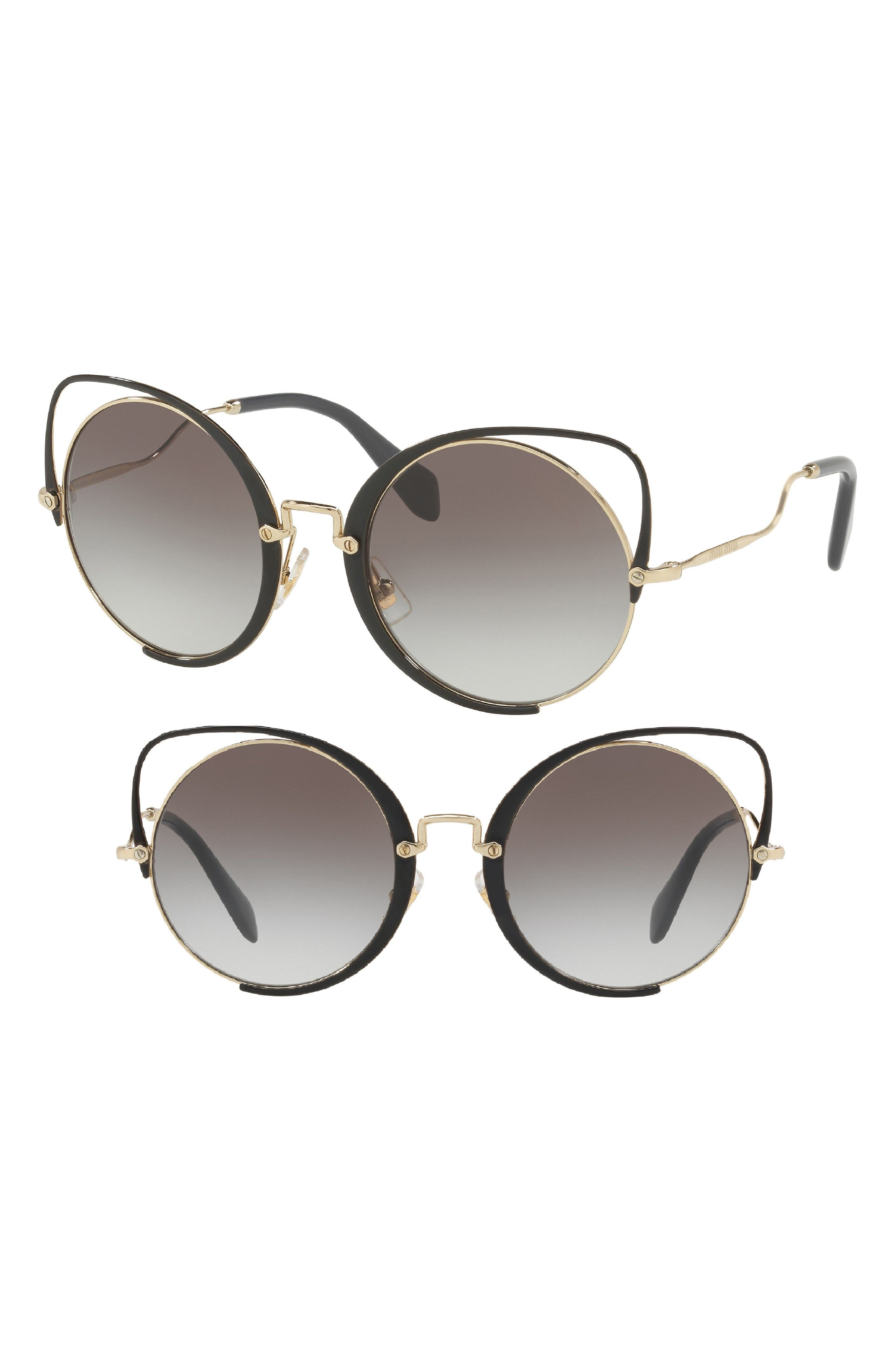 54mm Gradient Round Lens Cat Eye Sunglasses,                         Main,                         color, 010