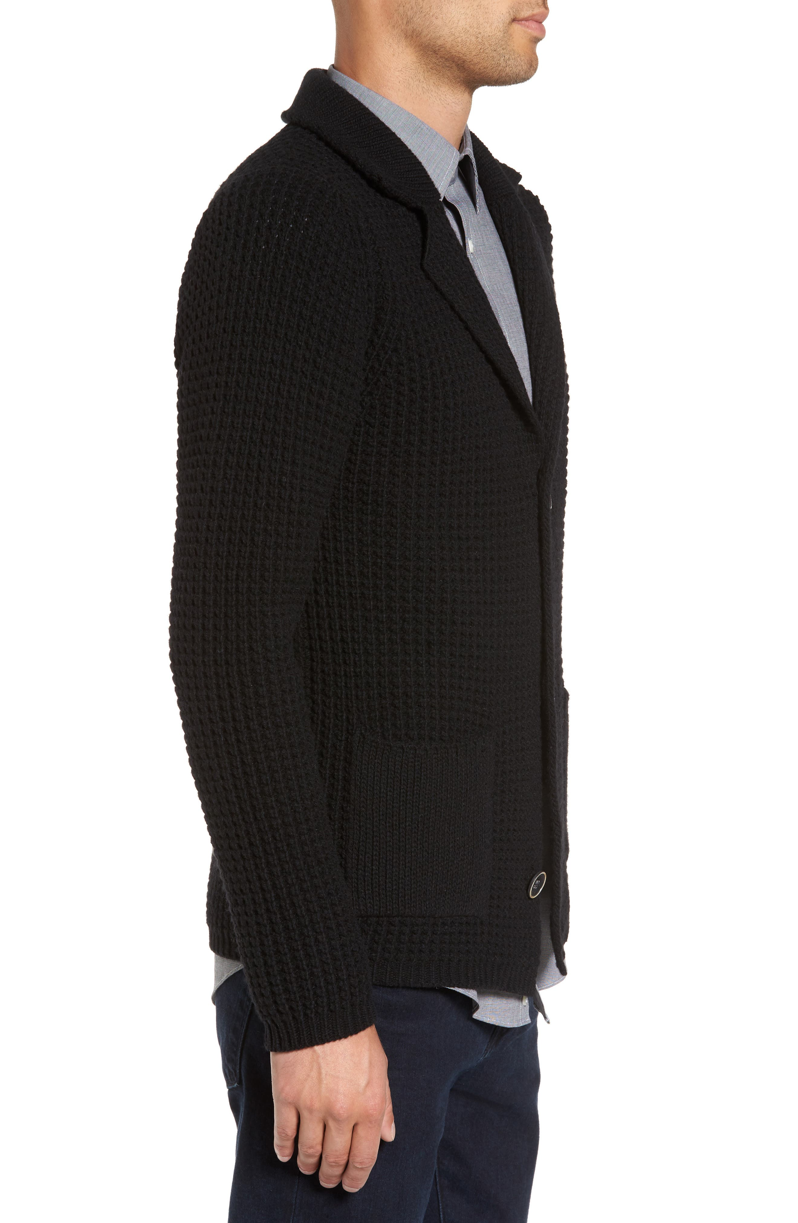 Trim Fit Knit Cardigan Jacket,                             Alternate thumbnail 3, color,                             001