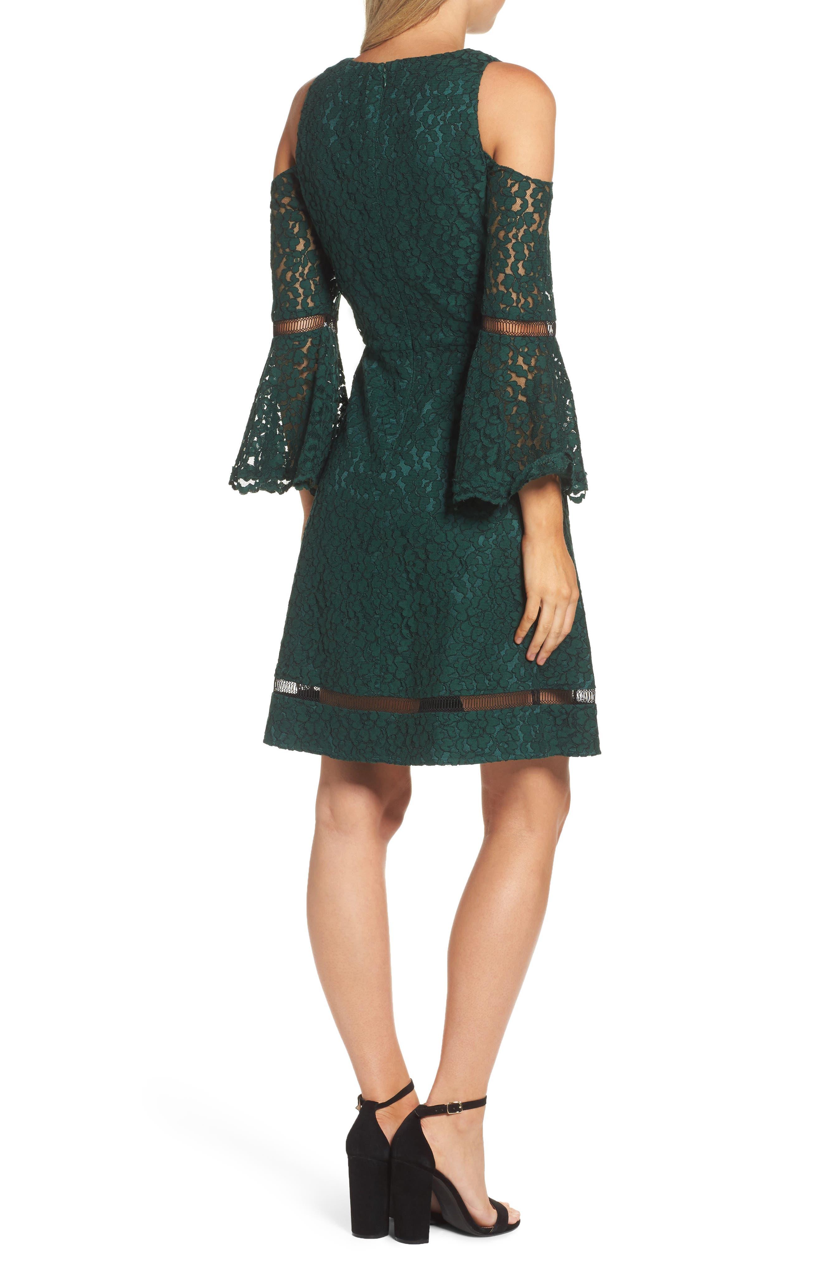 Bell Sleeve Cold Shoulder Fit & Flare Dress,                             Alternate thumbnail 2, color,                             310