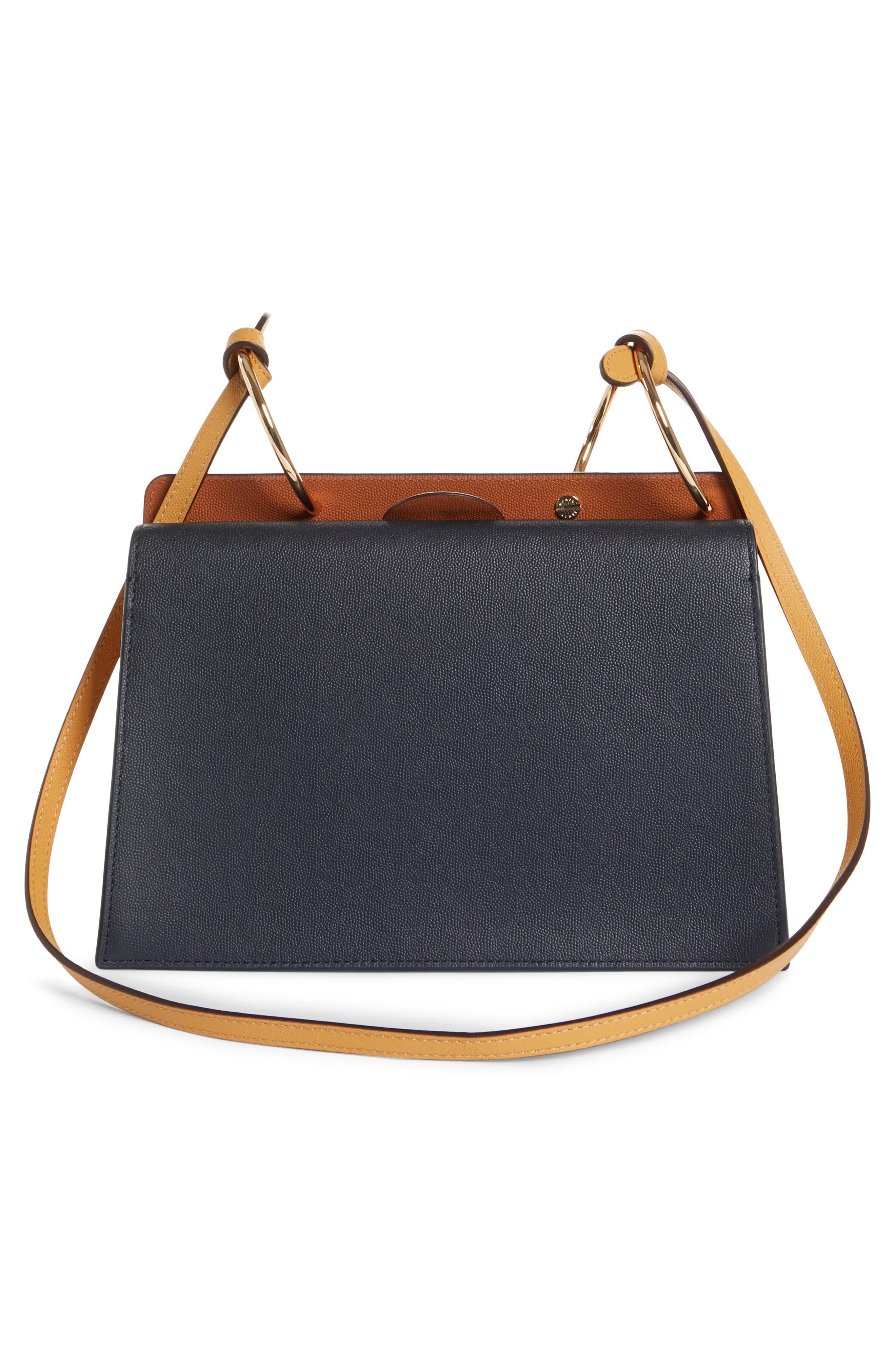 Phoebe Leather Crossbody Bag,                             Alternate thumbnail 3, color,                             MARINE/ SAND