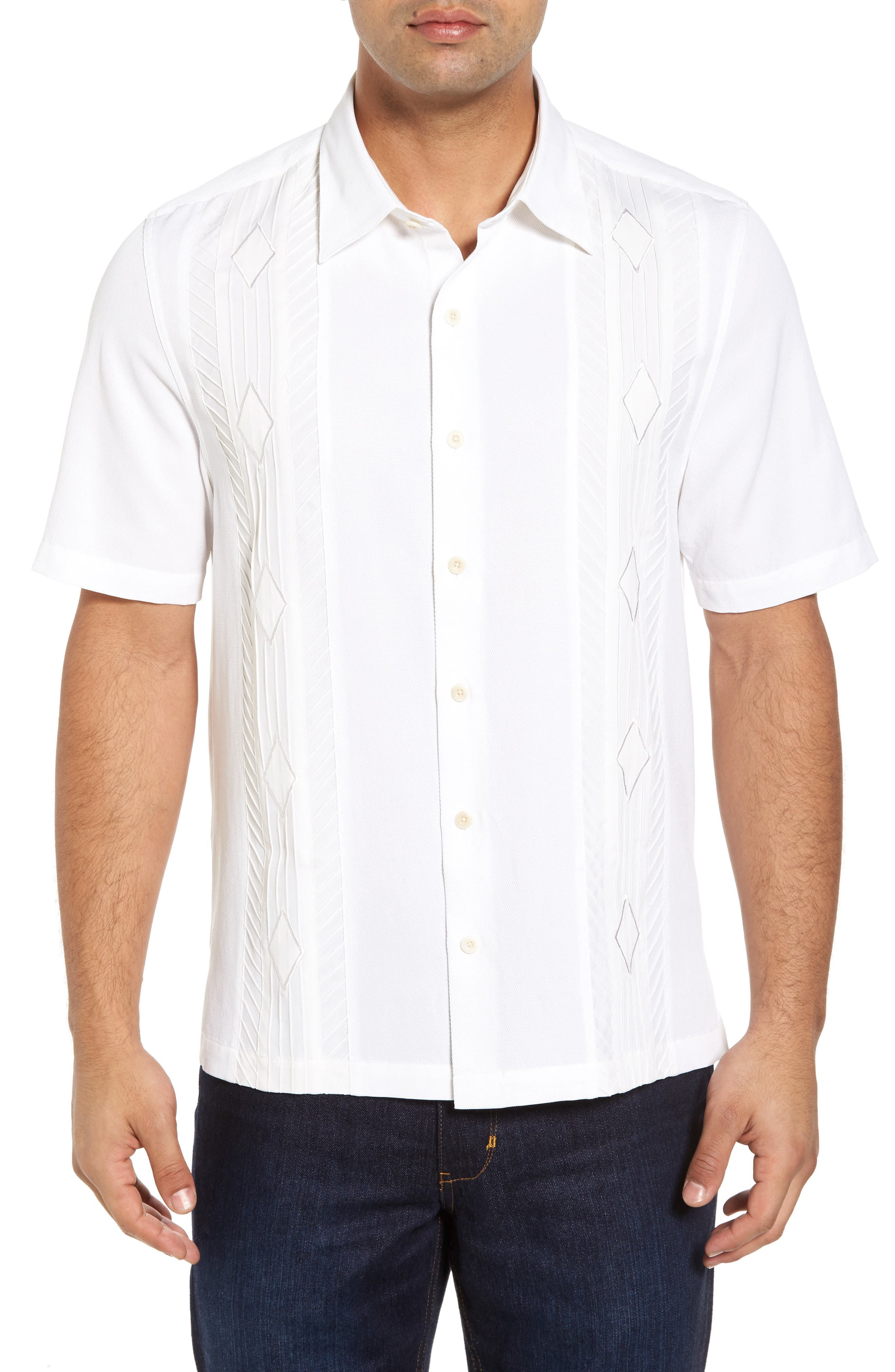 Gondola Embroidered Jacquard Silk Blend Sport Shirt,                             Main thumbnail 1, color,