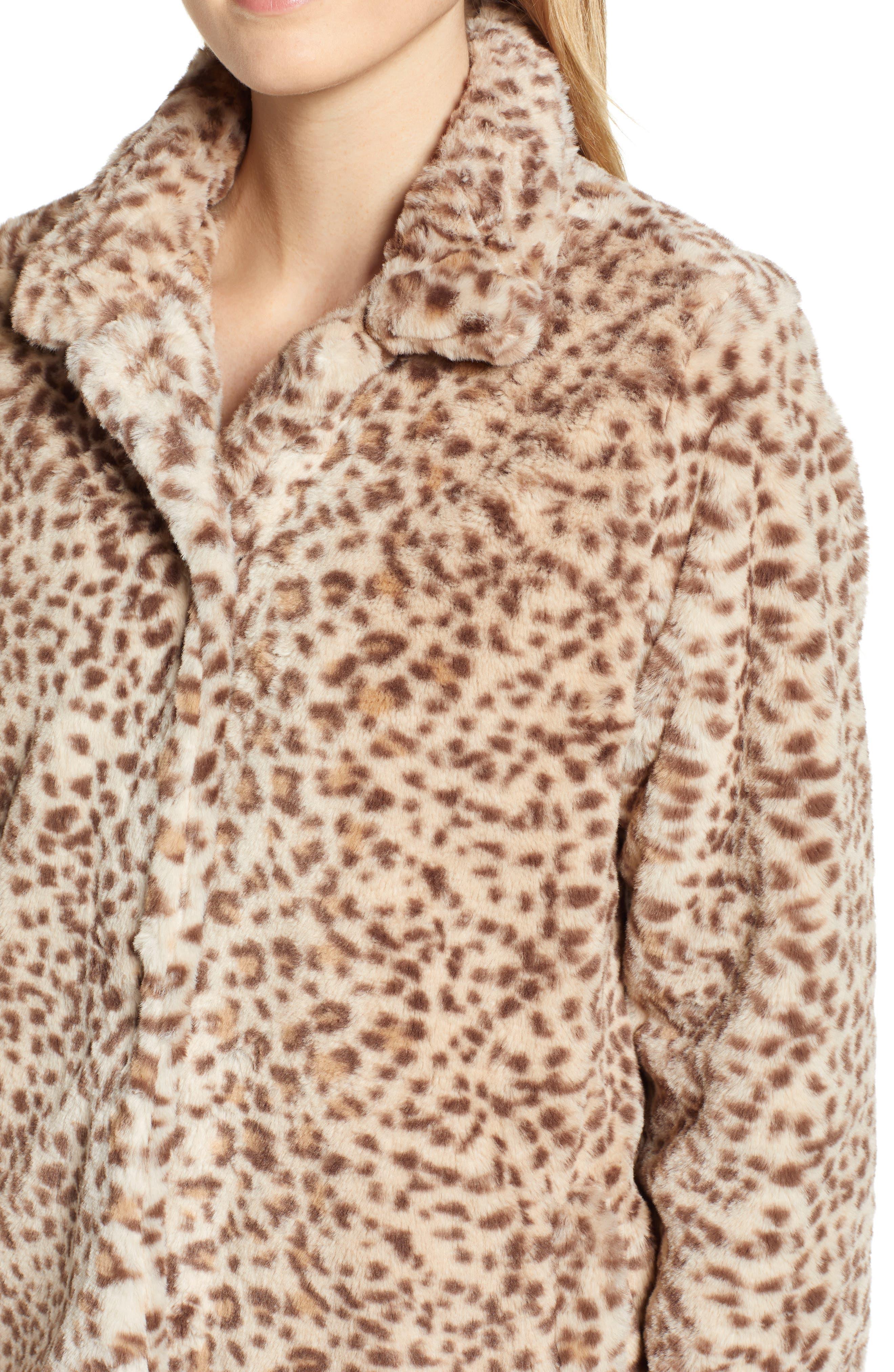 Faux Leopard Fur Coat,                             Alternate thumbnail 4, color,                             TAN
