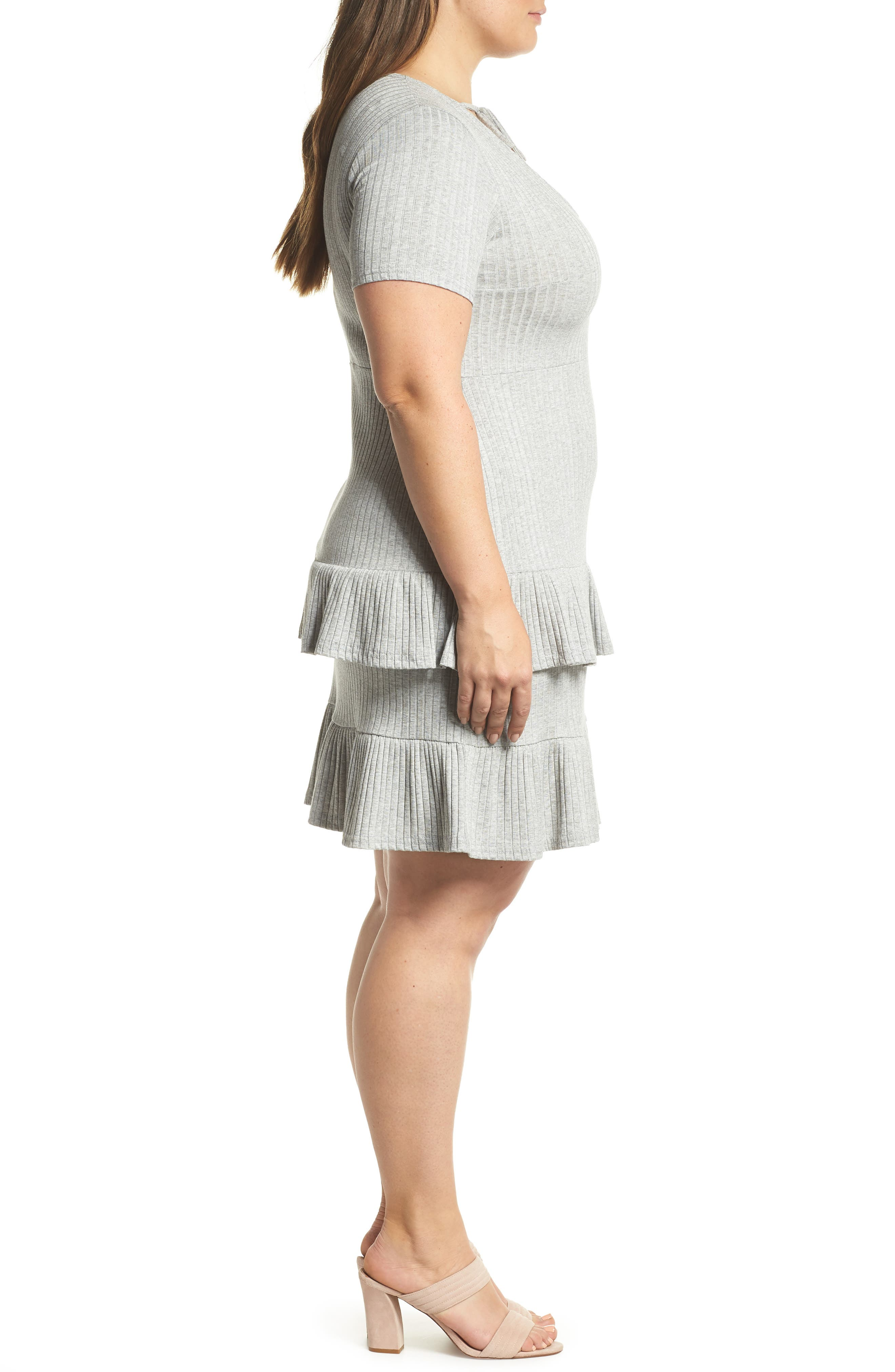 Fit & Flare Ribbed Dress,                             Alternate thumbnail 3, color,                             020