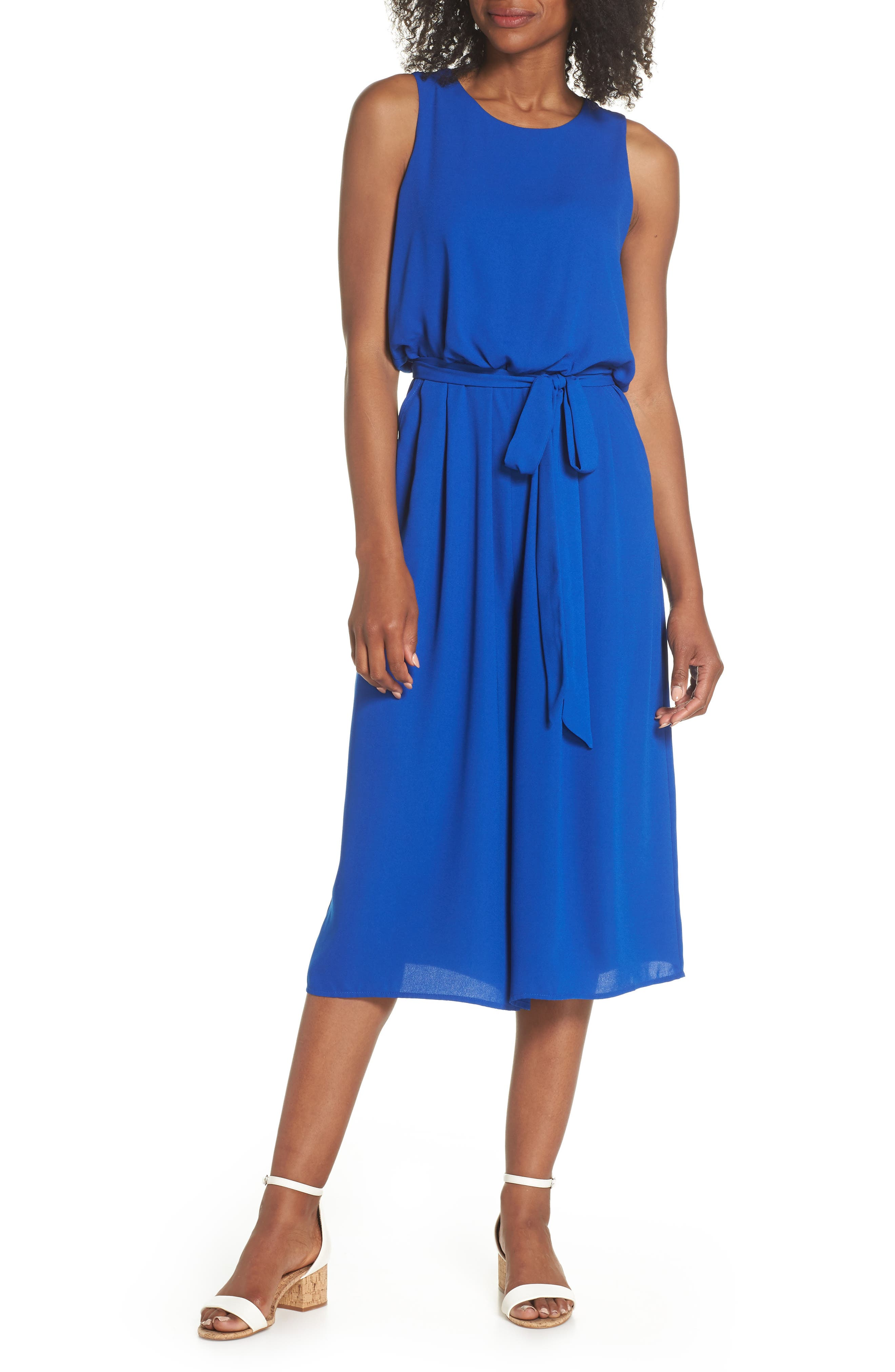 Moss Crepe Wide Leg Jumpsuit,                             Main thumbnail 1, color,                             ROYAL