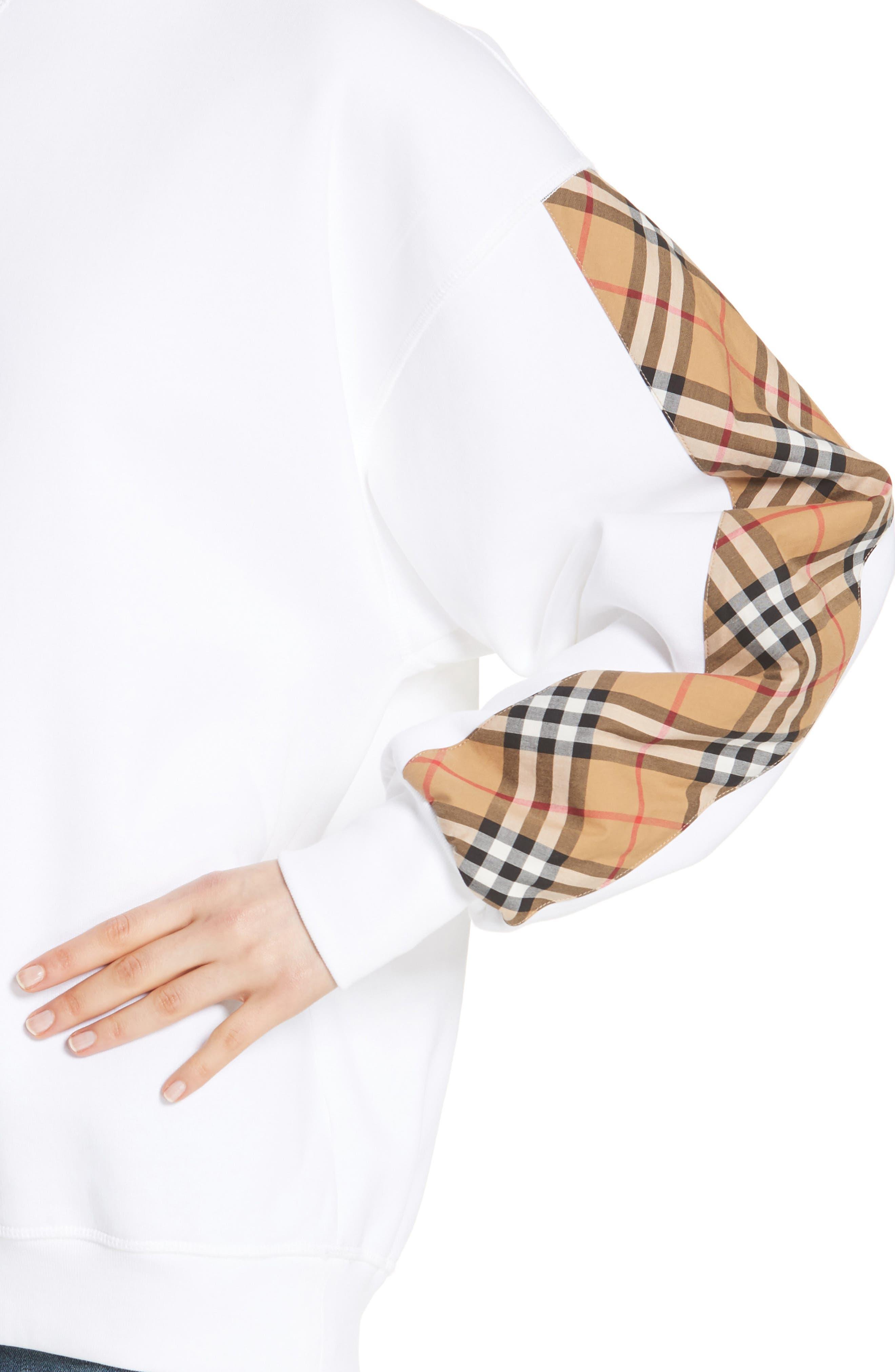 Bronx Check Sleeve Sweatshirt,                             Alternate thumbnail 4, color,                             WHITE
