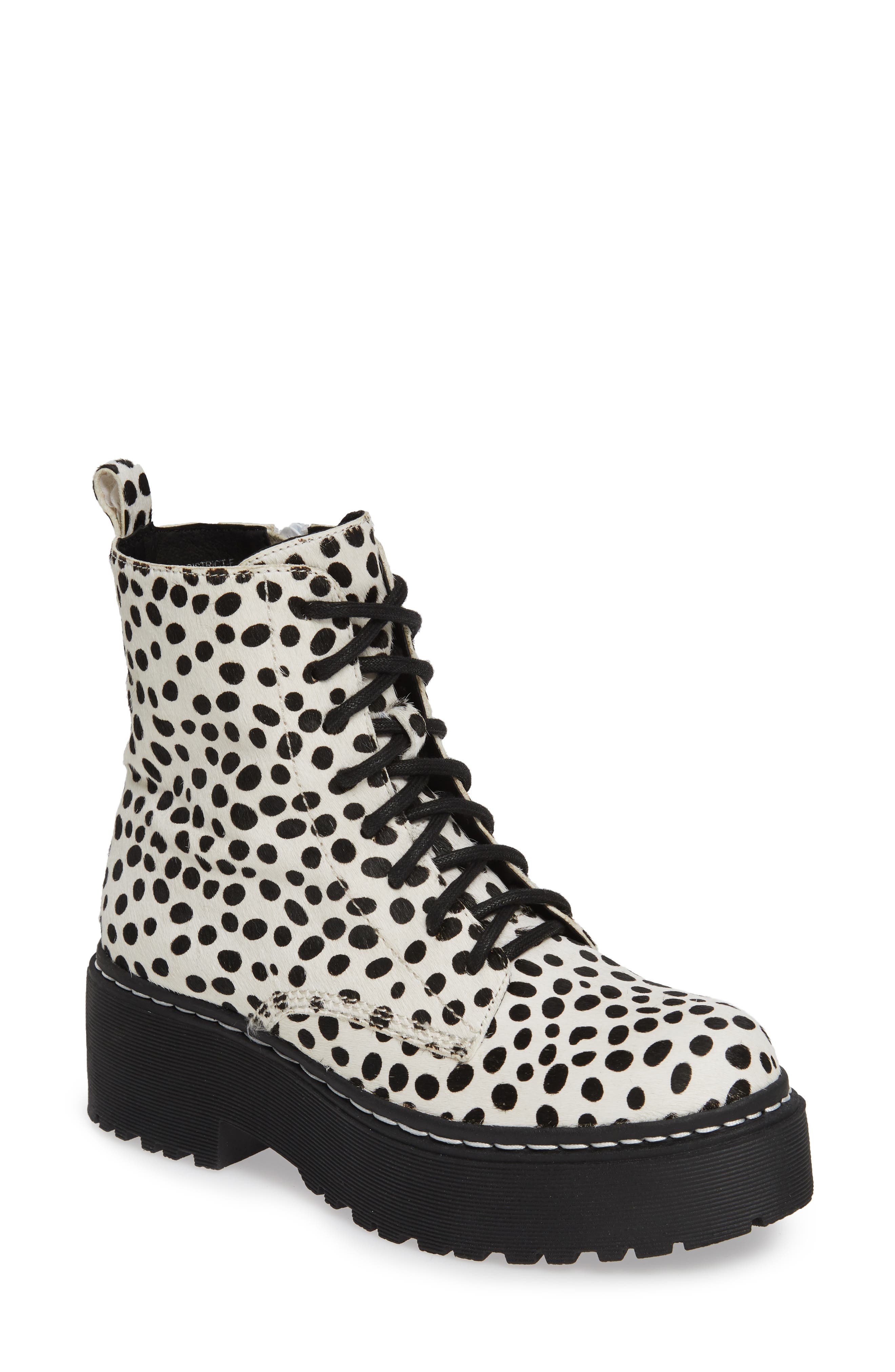 Jeffrey Campbell District-F Genuine Calf Hair Platform Boot- White