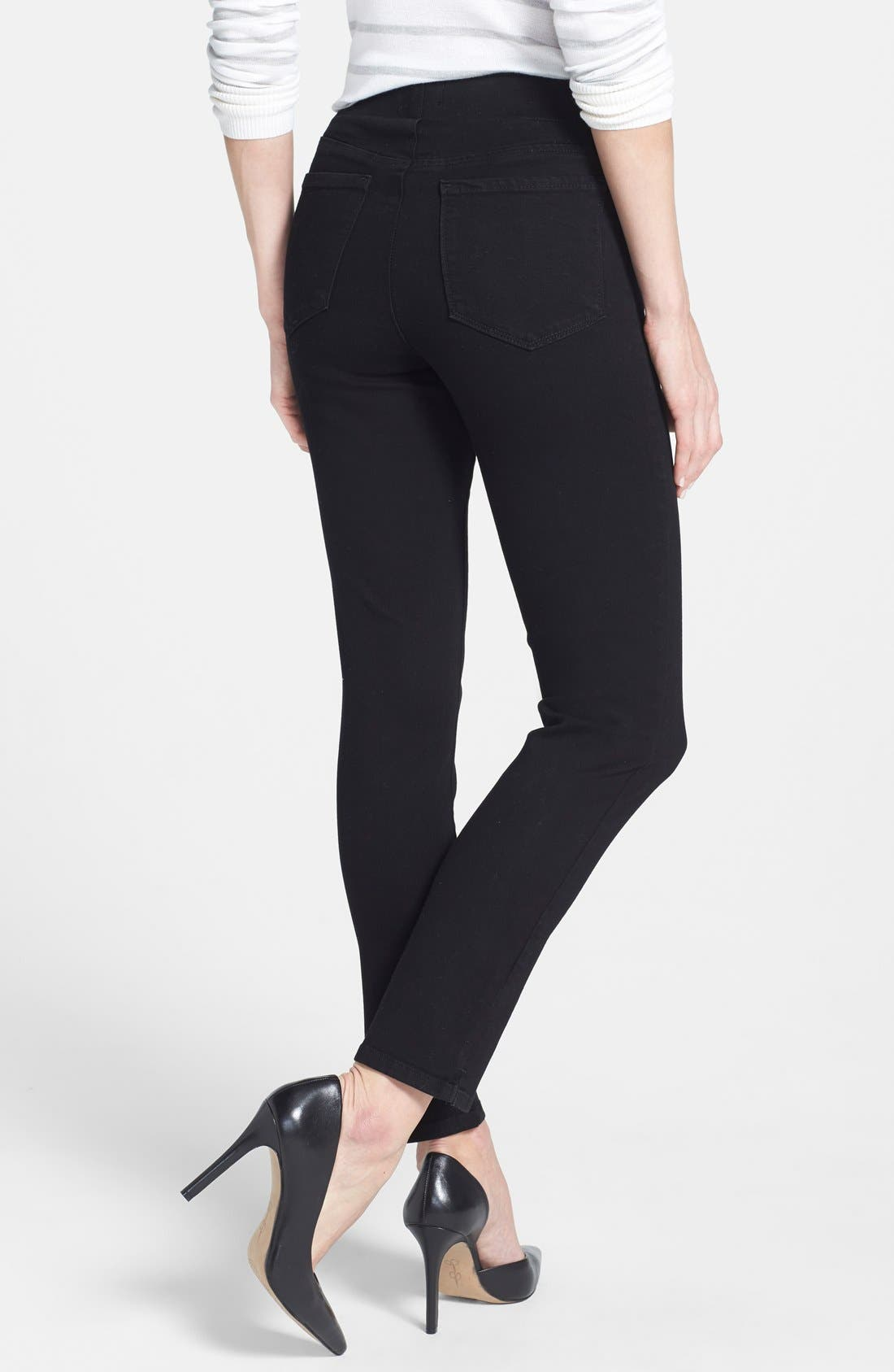 Alina Stretch Ankle Jeans,                             Alternate thumbnail 4, color,                             001
