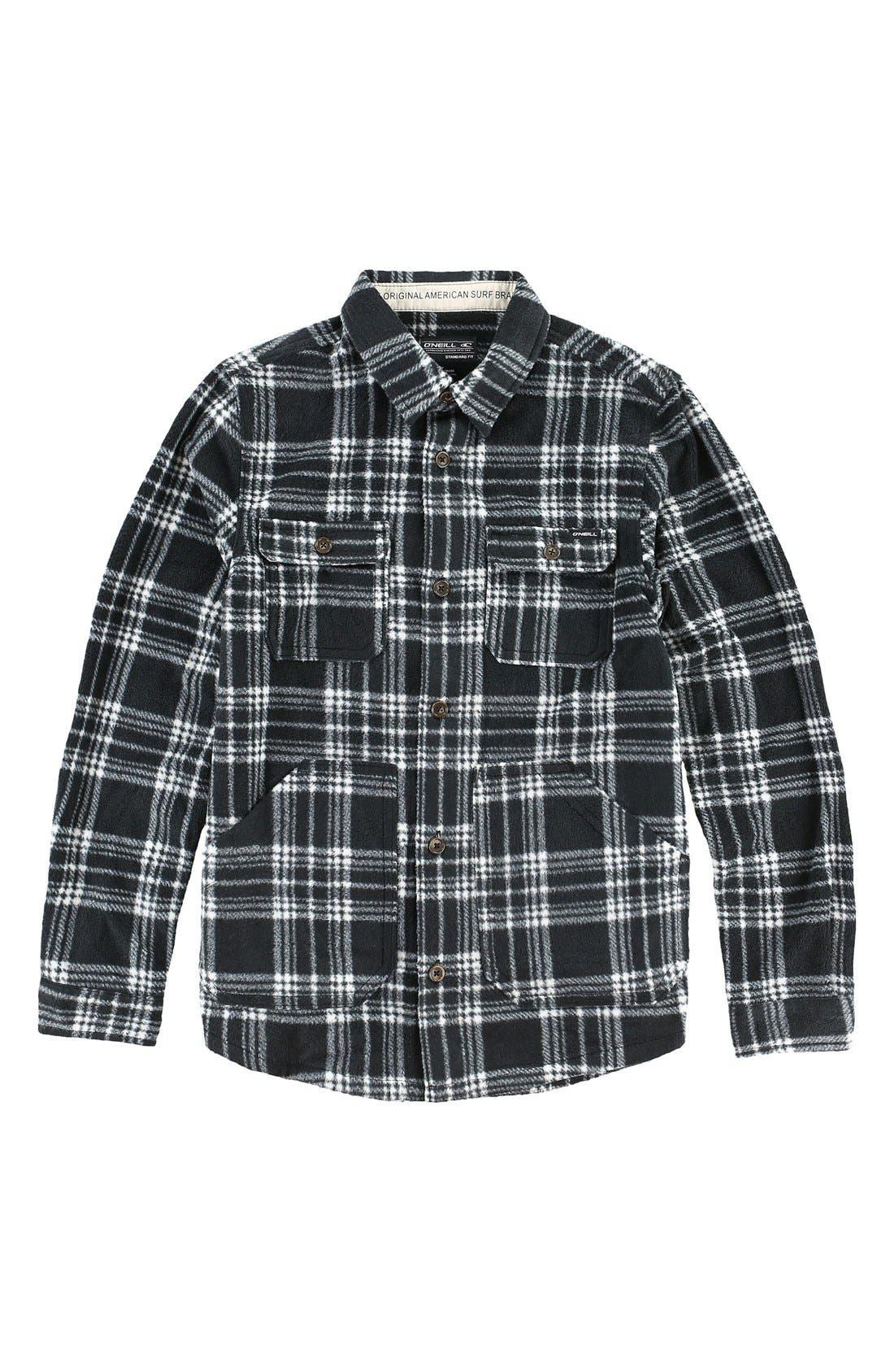 'Glacier' Check Long Sleeve Fleece Shirt,                             Main thumbnail 1, color,                             001
