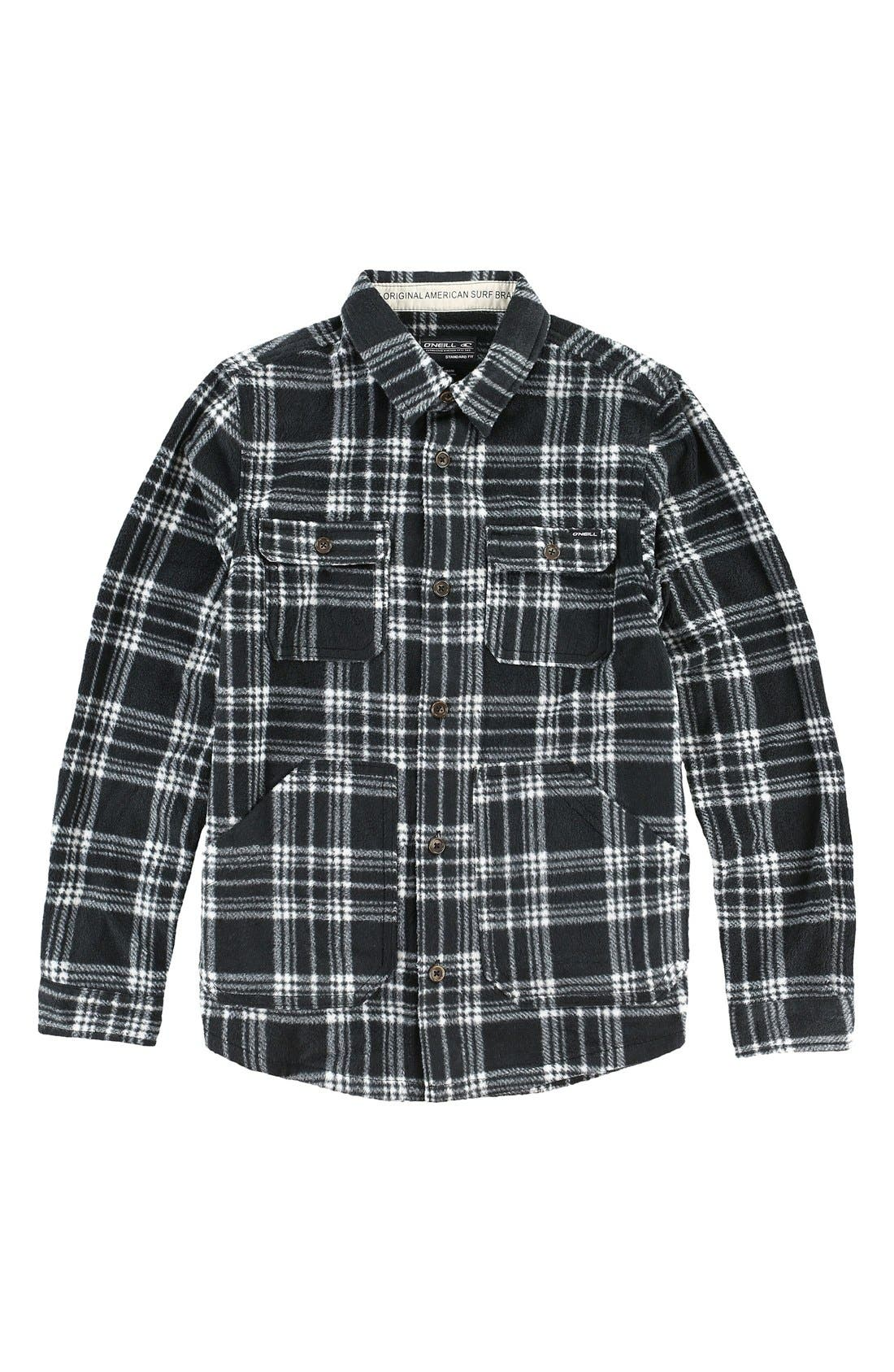 'Glacier' Check Long Sleeve Fleece Shirt,                         Main,                         color, 001