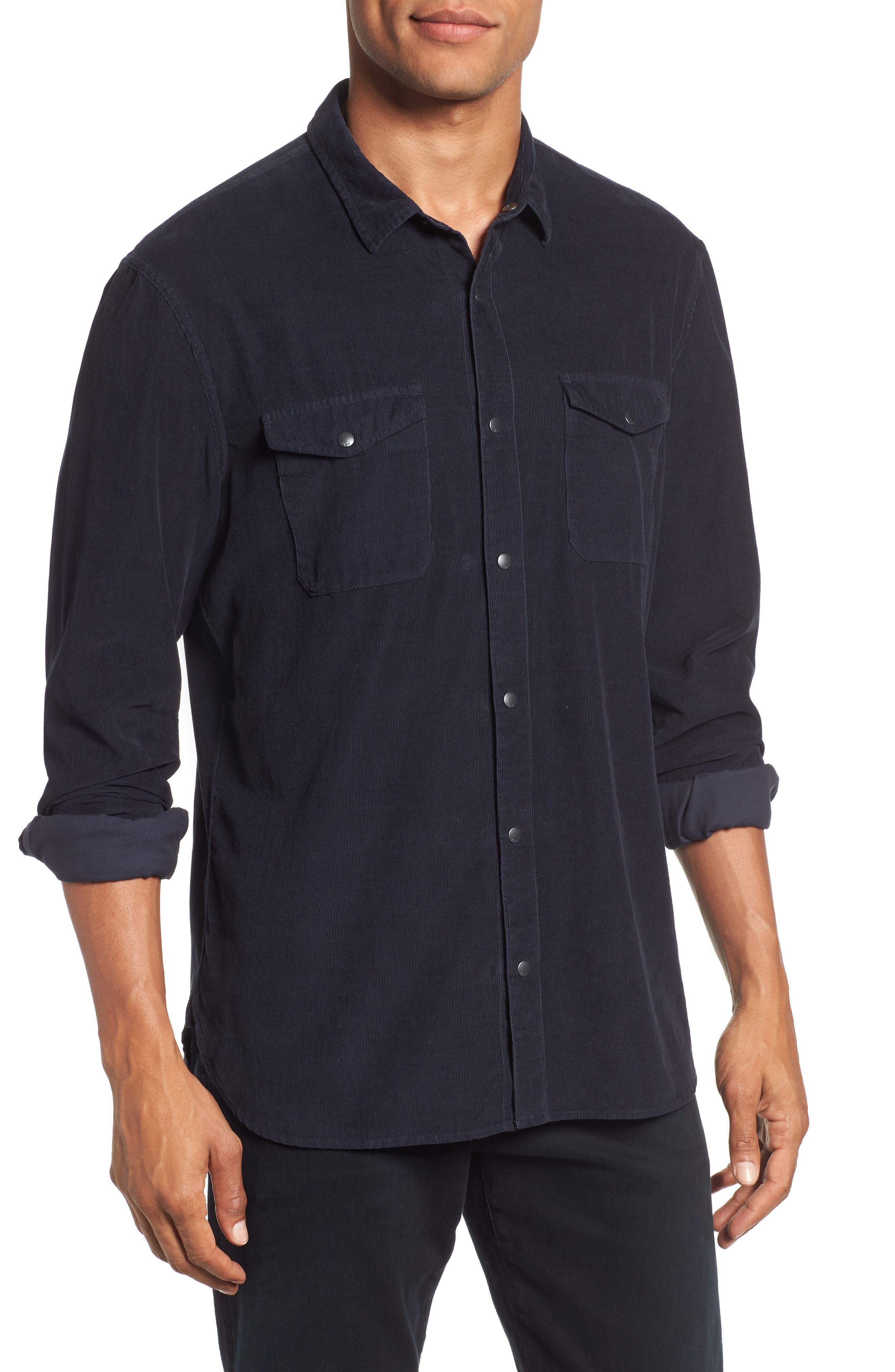 Corduroy Shirt,                         Main,                         color, MIDNIGHT