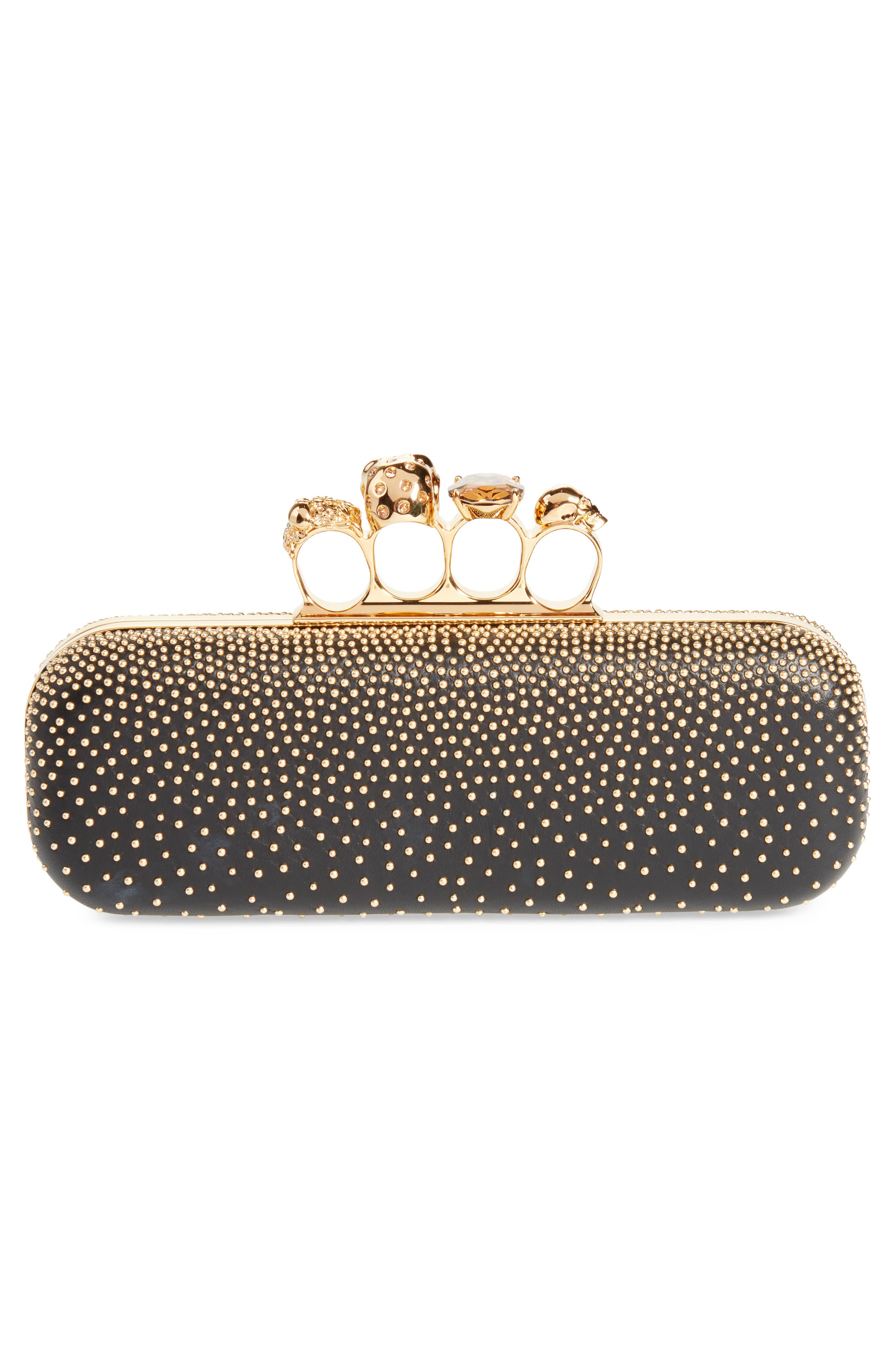 Studded Leather Knuckle Clutch,                             Alternate thumbnail 3, color,                             001