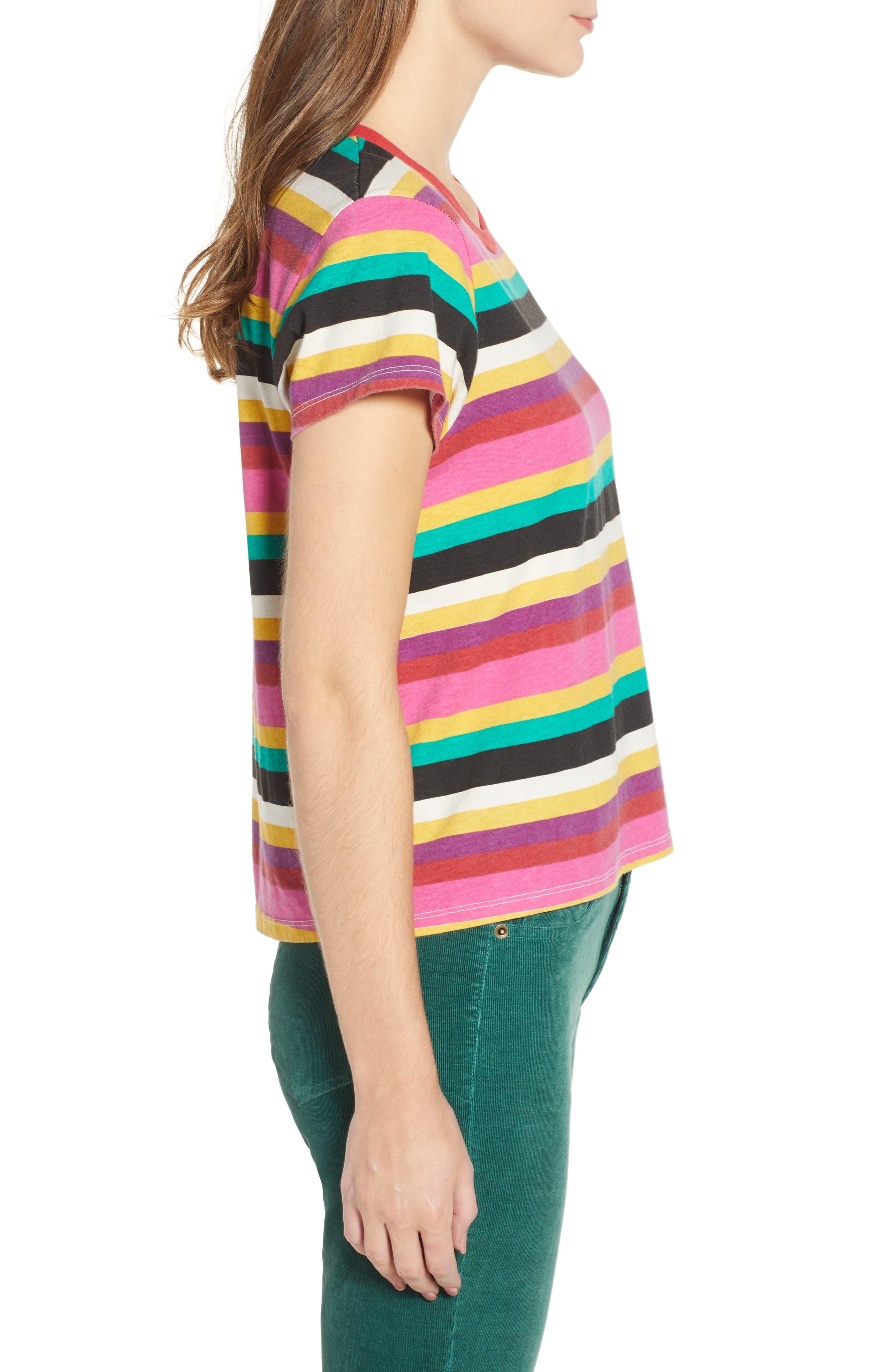 Rainbow Stripe Tee,                             Alternate thumbnail 3, color,                             MULTICOLOR