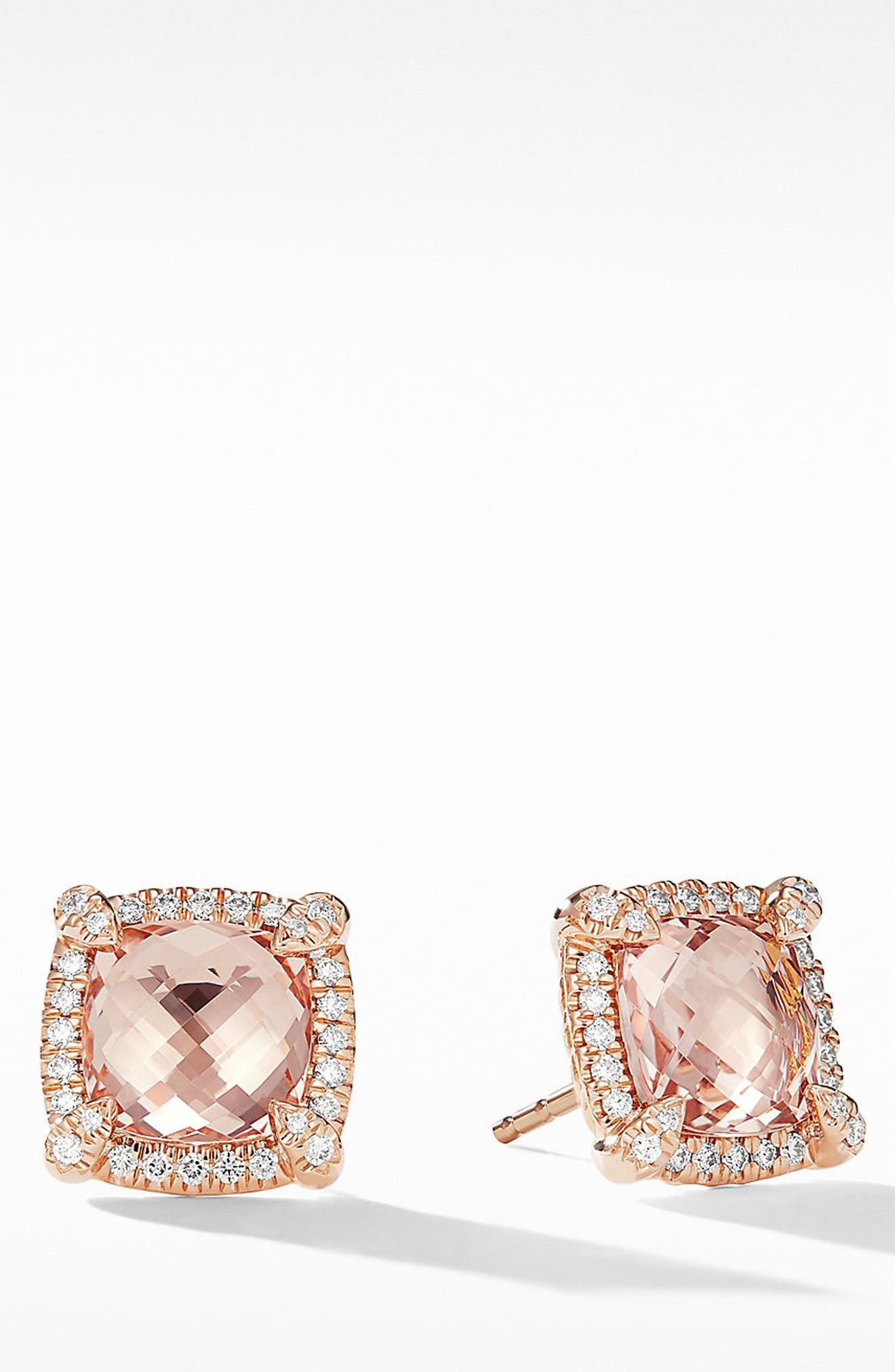 Châtelaine Pavé Bezel Stud Earrings with Morganite and Diamonds in 18K Rose Gold,                         Main,                         color, ROSE GOLD/ DIAMOND/ MORGANITE