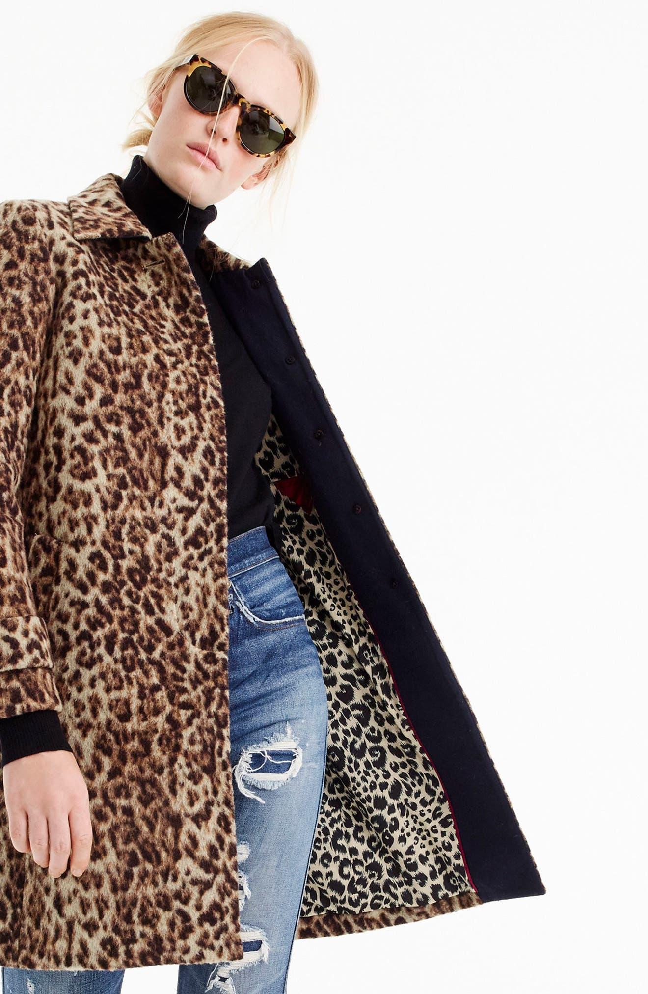 J.CREW,                             Double Leopard Topcoat,                             Alternate thumbnail 6, color,                             SNOW LEOPARD