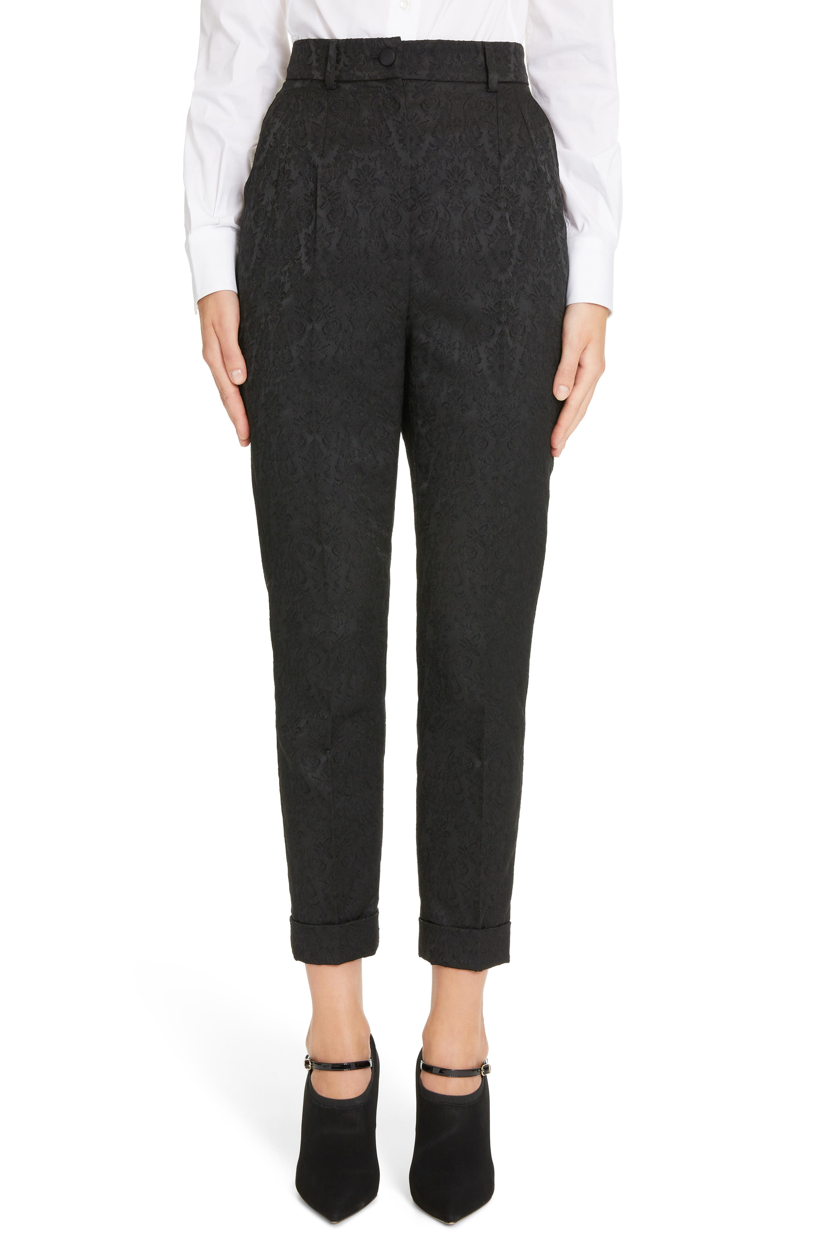 Jacquard Cuff Skinny Pants, Main, color, N0000 BLACK