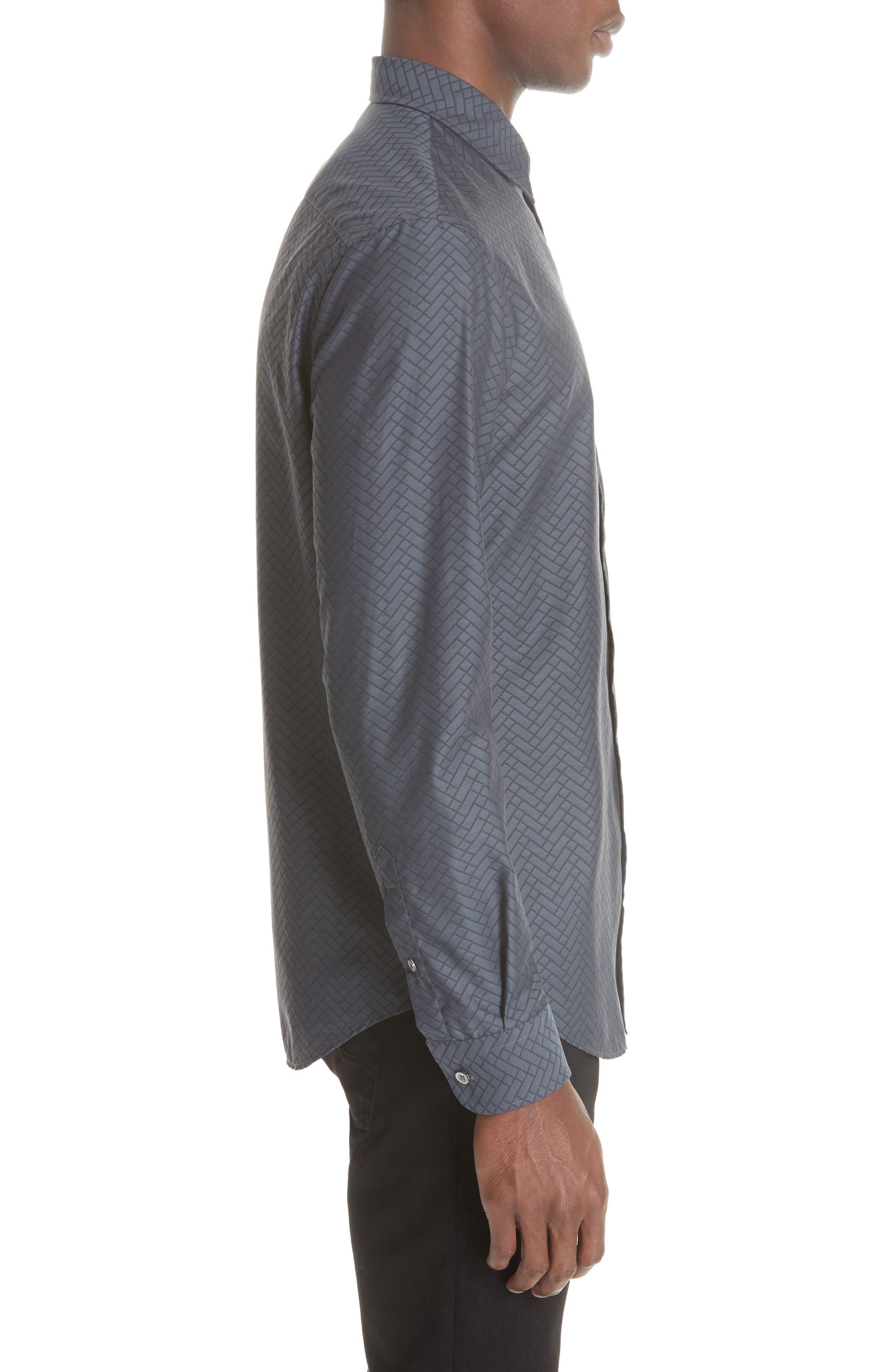 Regular Fit Geometric Sport Shirt,                             Alternate thumbnail 3, color,                             GREY