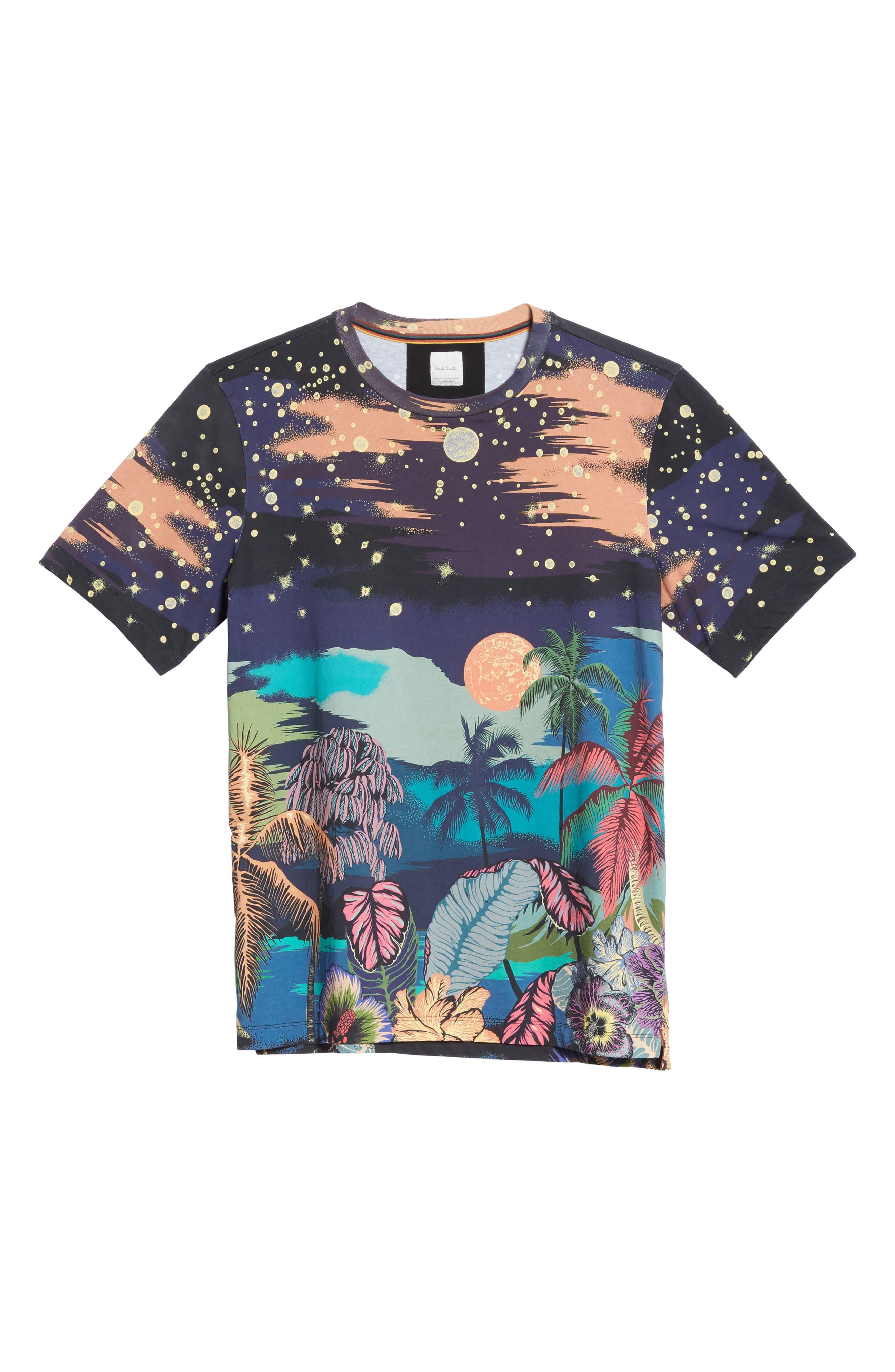 Palm Tree Print T-Shirt,                             Alternate thumbnail 6, color,                             400