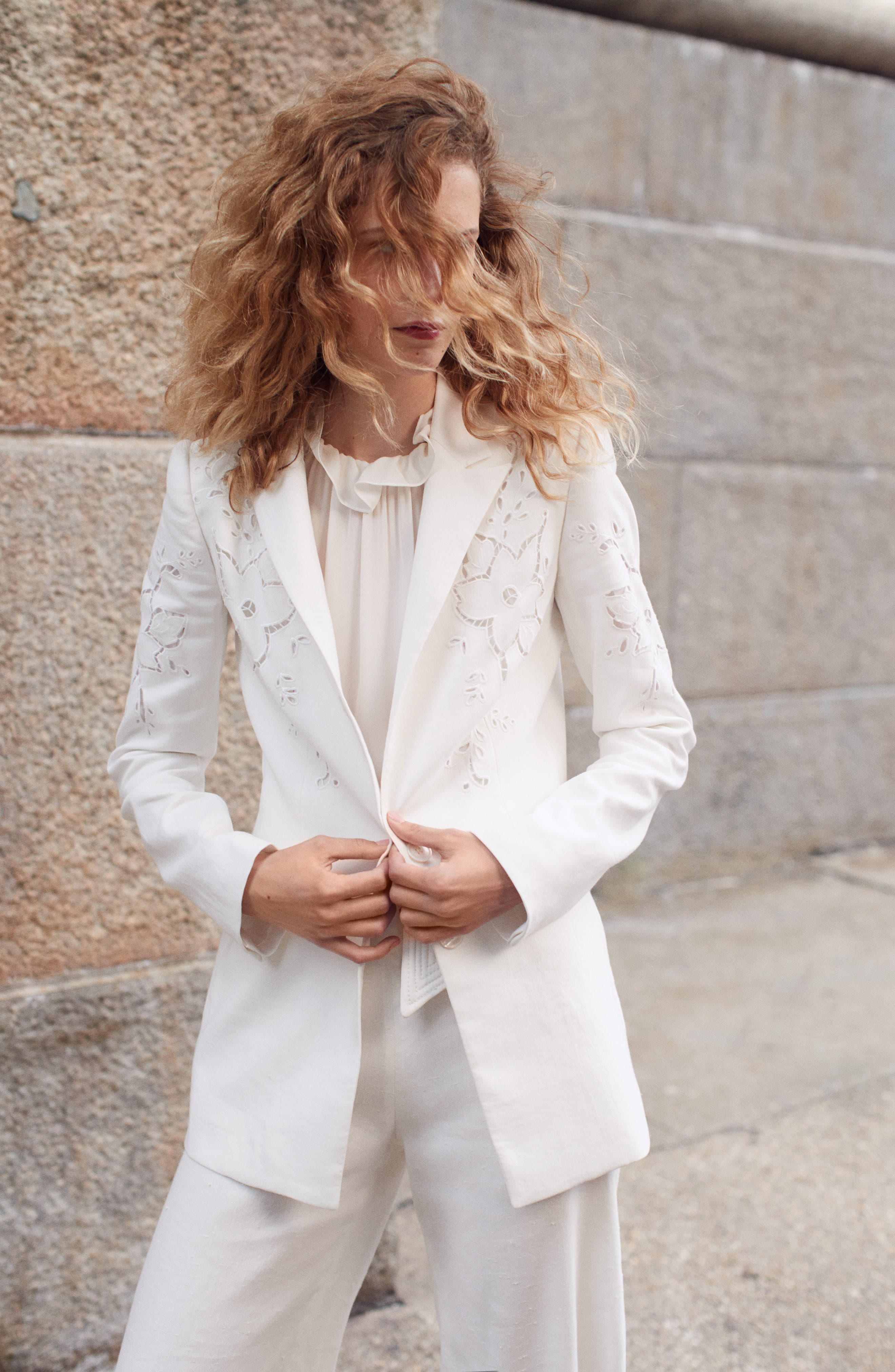 TAILORED BY REBECCA TAYLOR,                             Eyelet Embroidery Linen Blend Blazer,                             Alternate thumbnail 9, color,                             SNOW