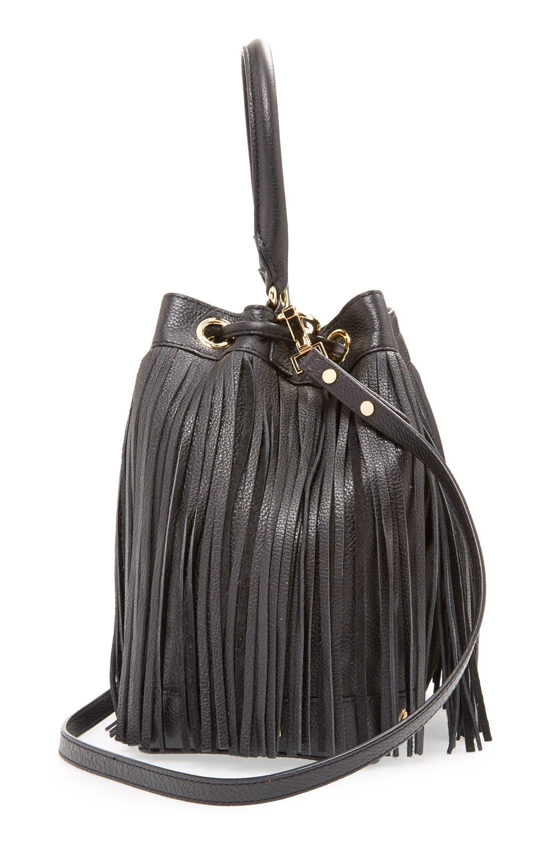 'Essex' Fringed Leather Bucket Bag,                             Alternate thumbnail 3, color,                             001