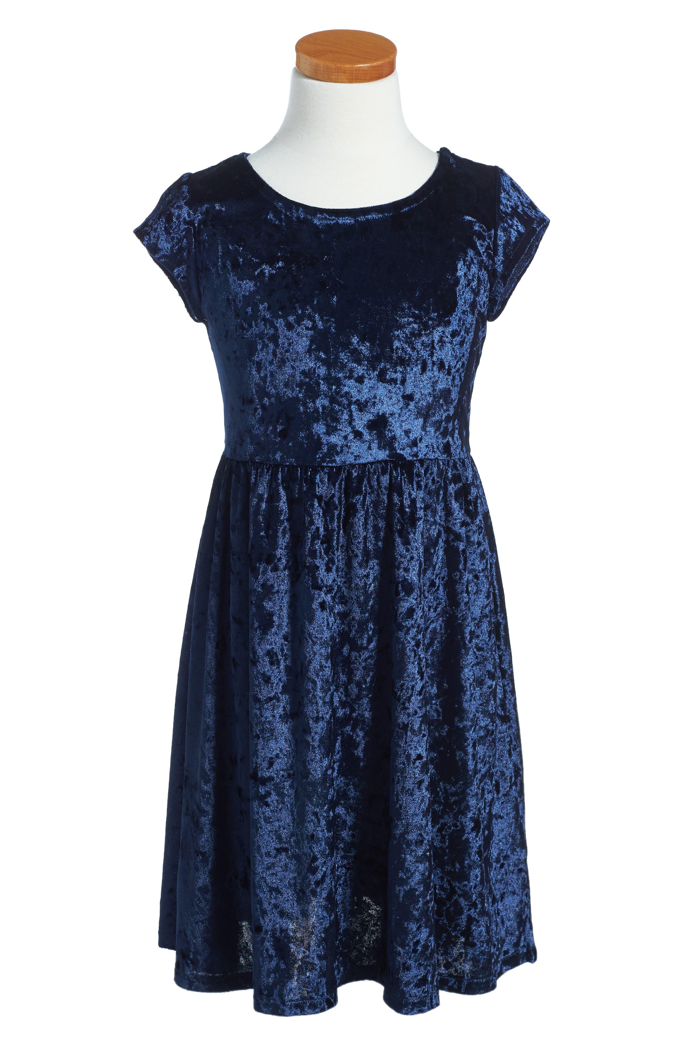 Velvet Skater Dress,                             Main thumbnail 1, color,                             410