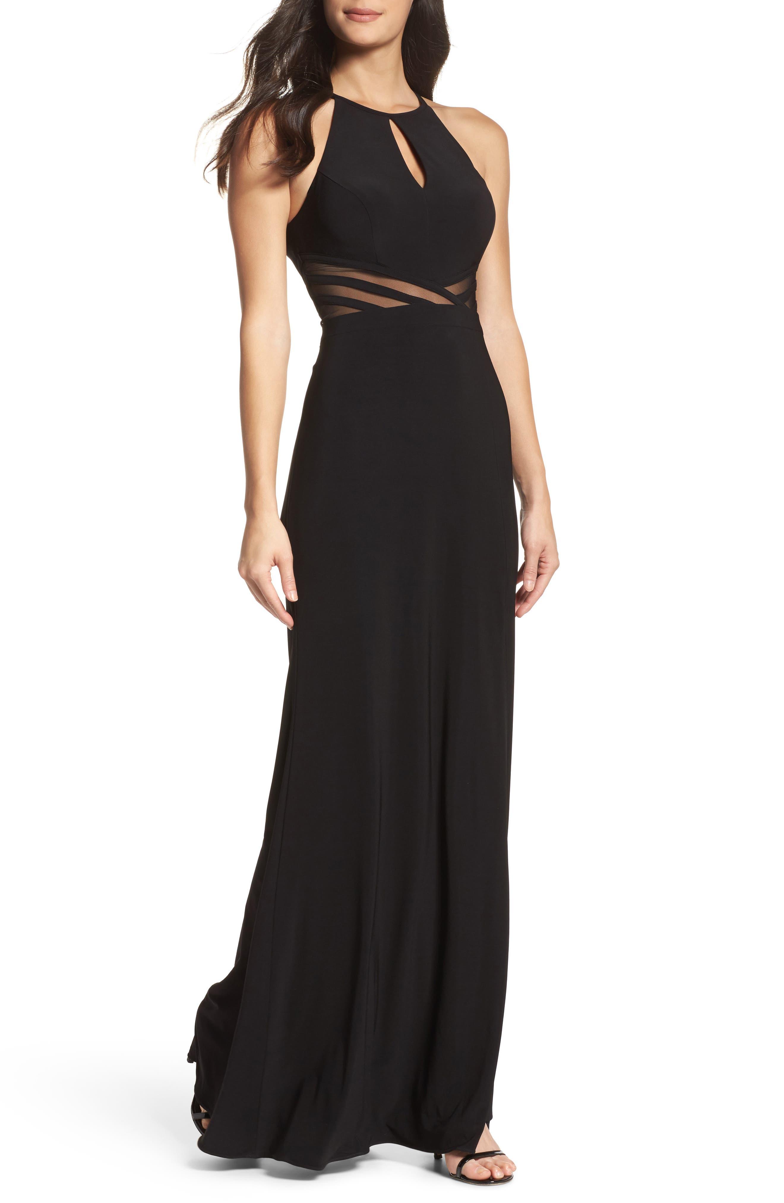 Illusion Waist Jersey Halter Dress,                         Main,                         color, 001