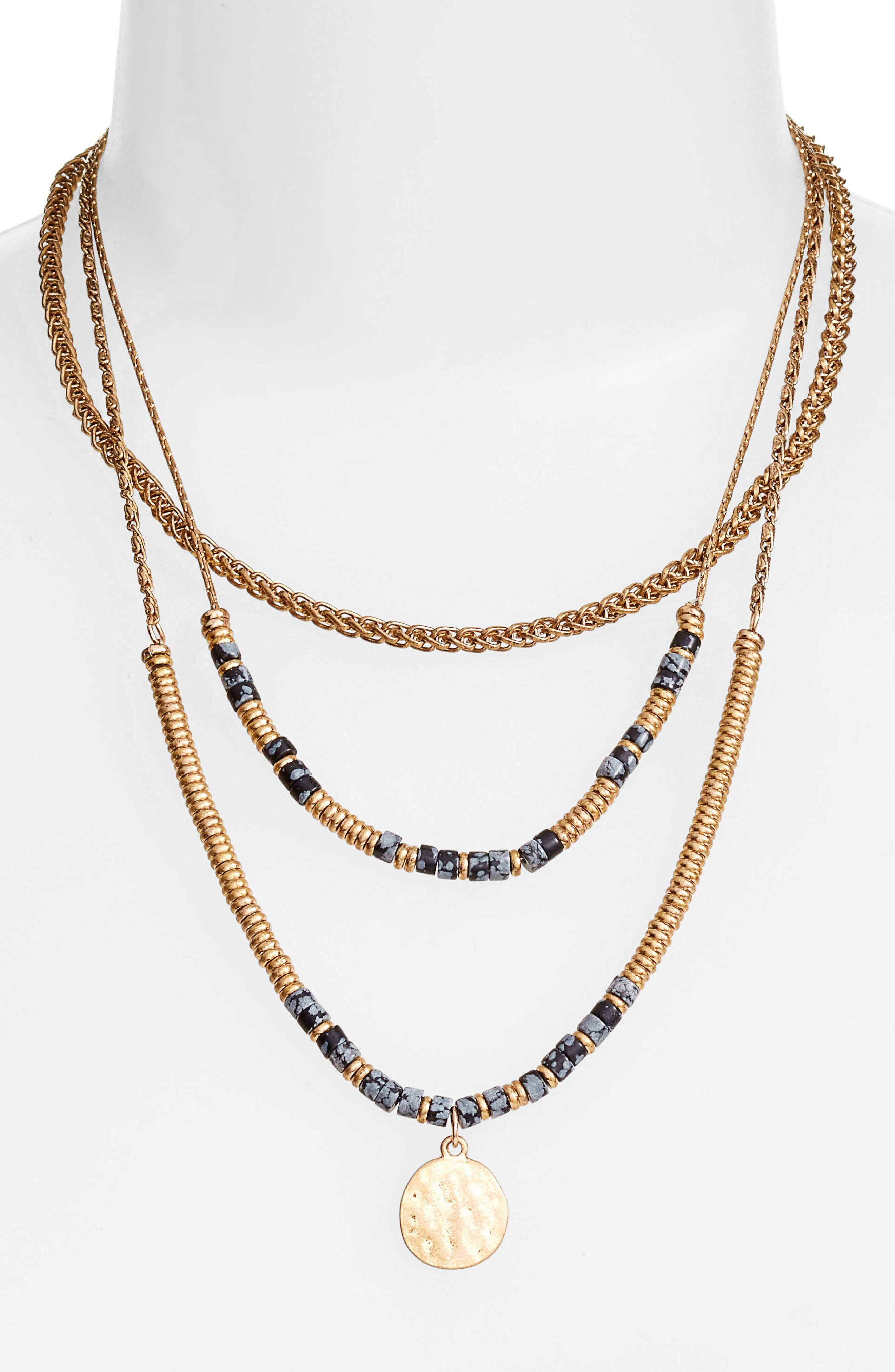Beaded Frontal Necklace,                             Alternate thumbnail 2, color,                             001