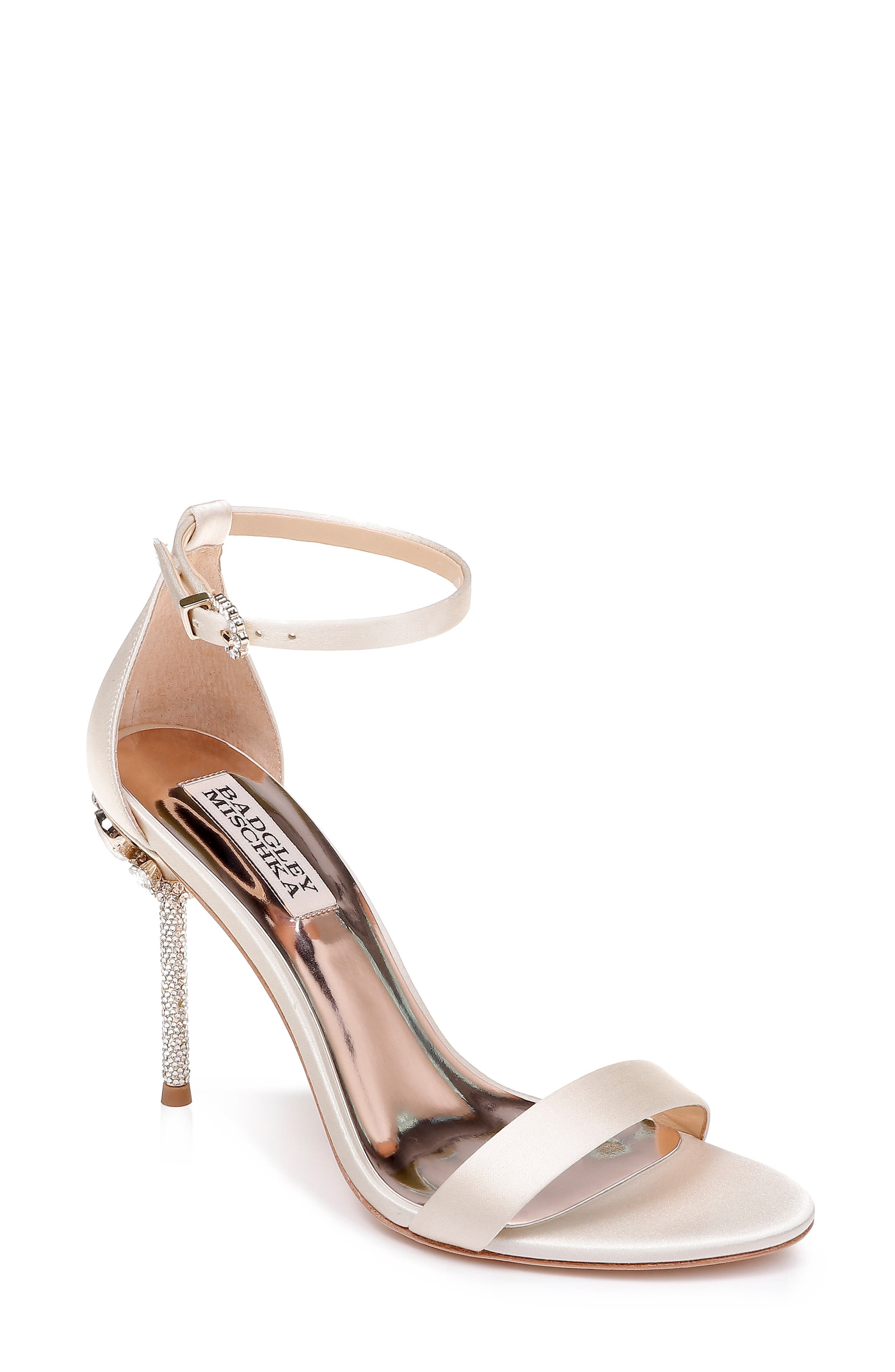 Badgley Mischka Vicia Crystal Embellished Heel Sandal, Ivory