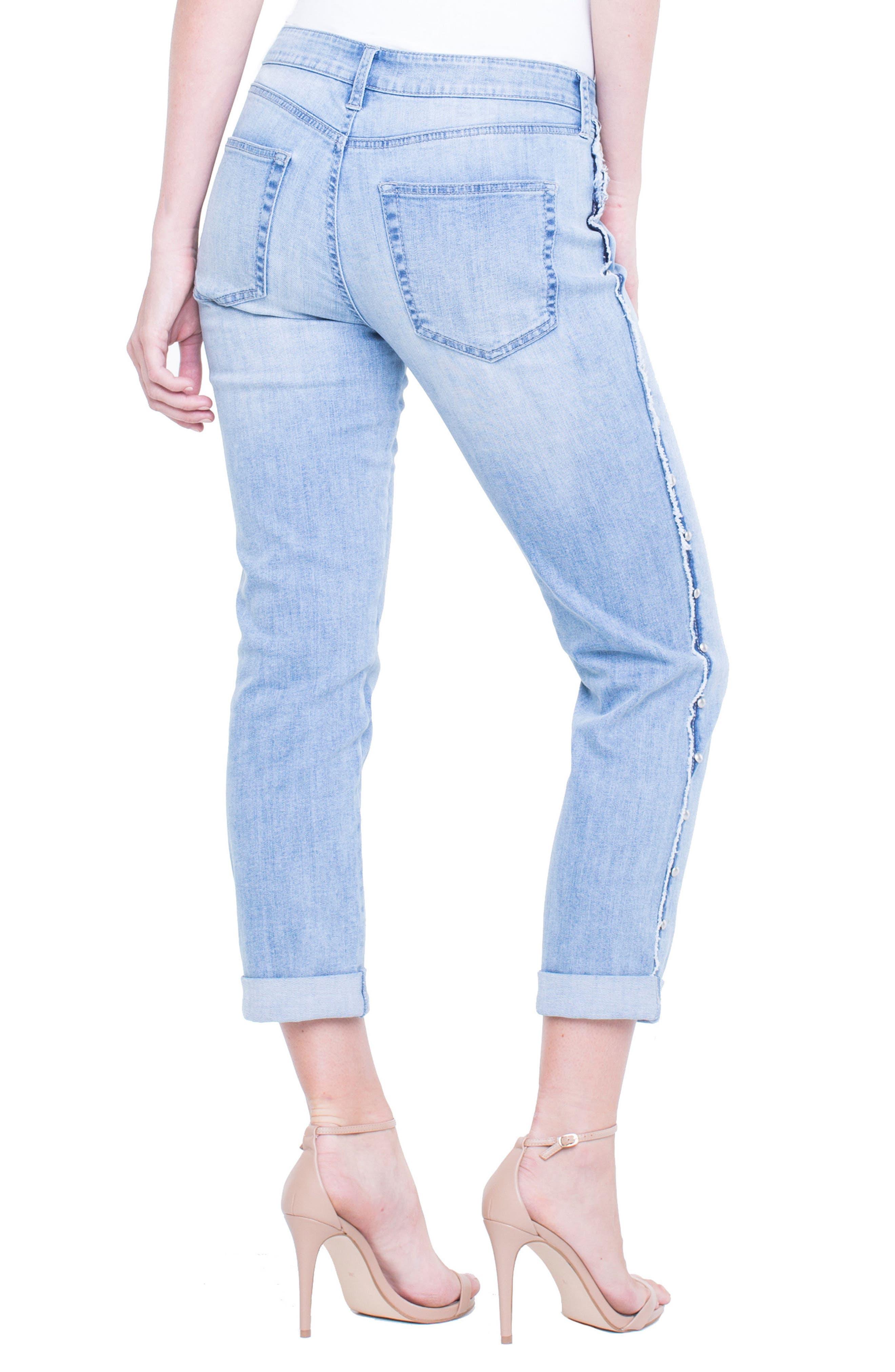 Perry Slim Side Stud Boyfriend Jeans,                             Alternate thumbnail 2, color,                             401