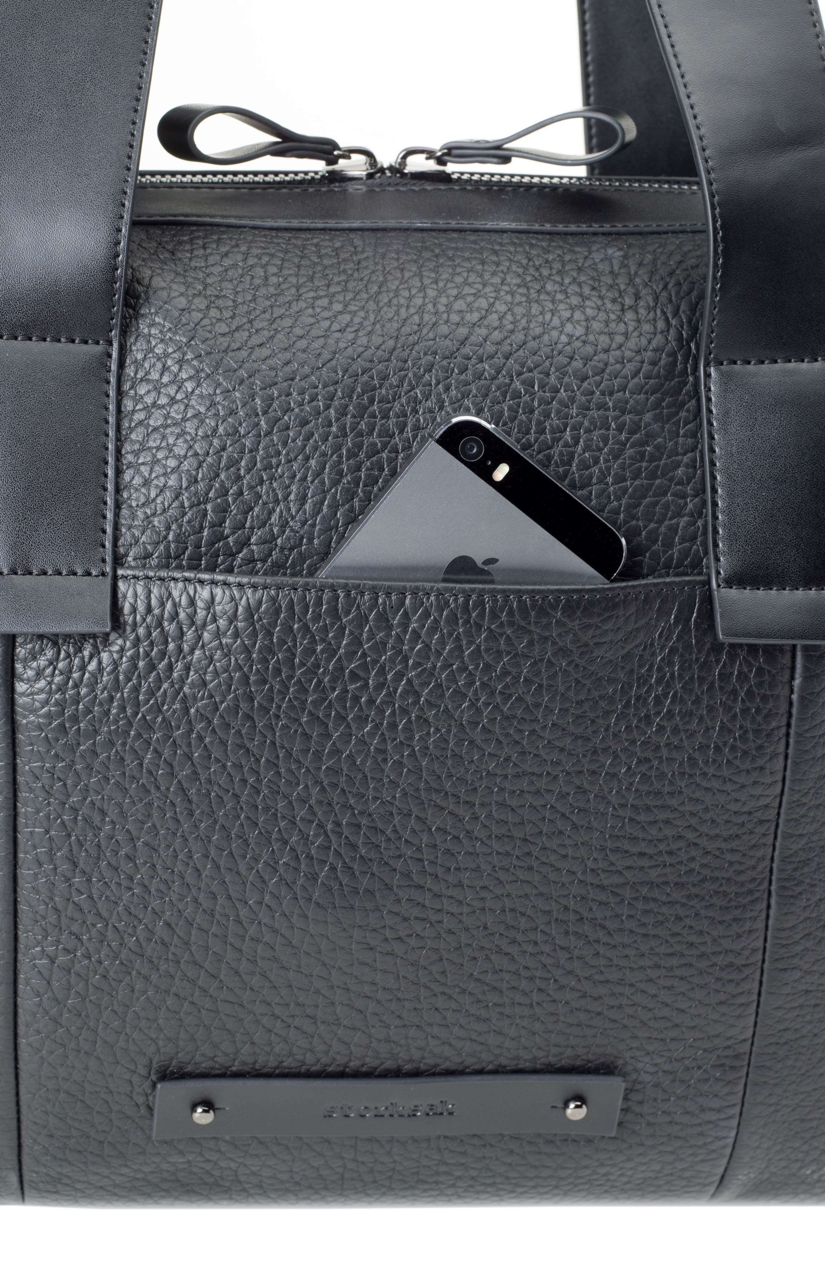 Kym Calfskin Leather Diaper Tote Bag,                             Alternate thumbnail 8, color,                             BLACK