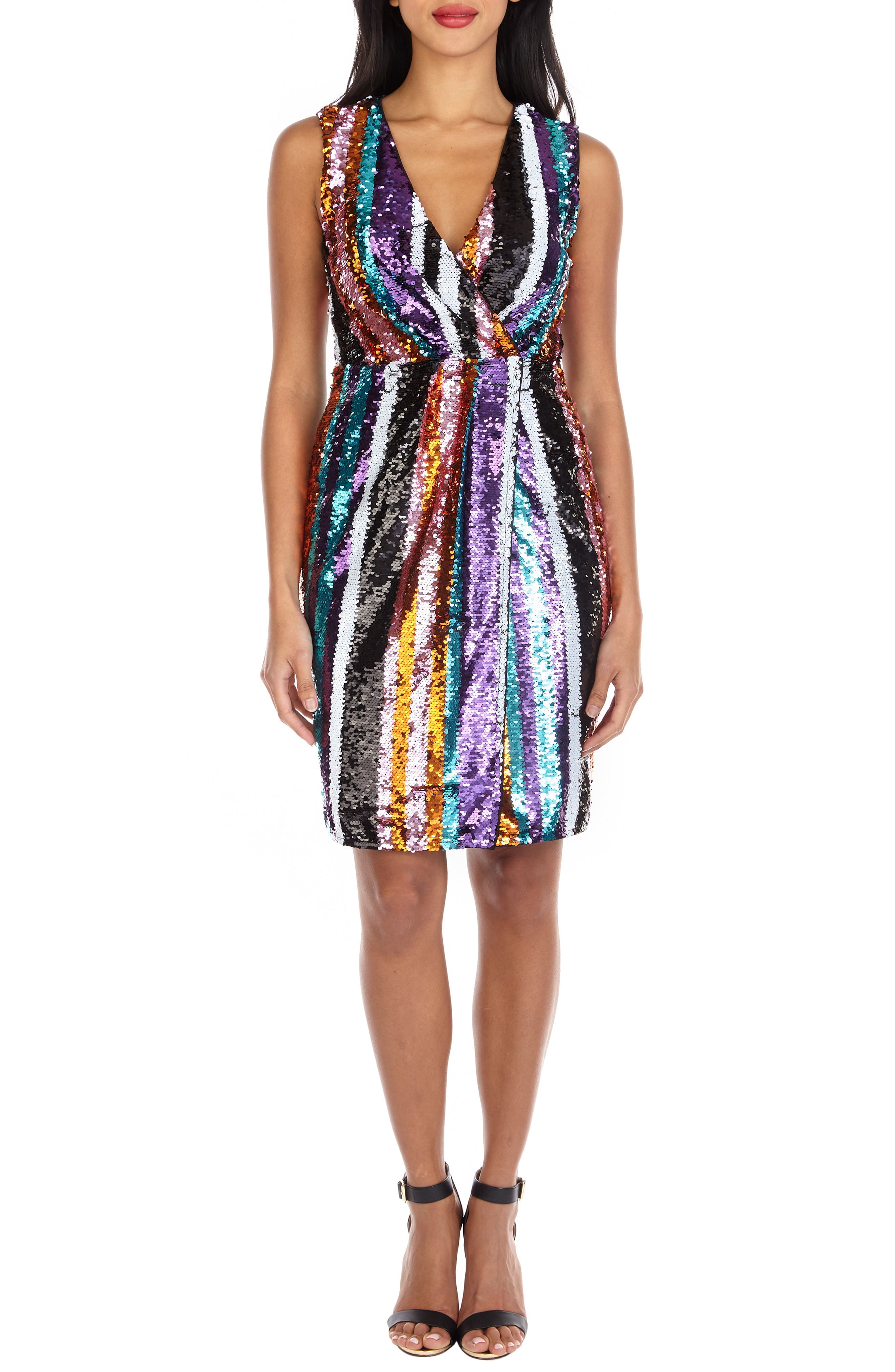 Sarah Rainbow Sequin Stripe Cocktail Sheath,                             Alternate thumbnail 4, color,                             MULTI PURPLE