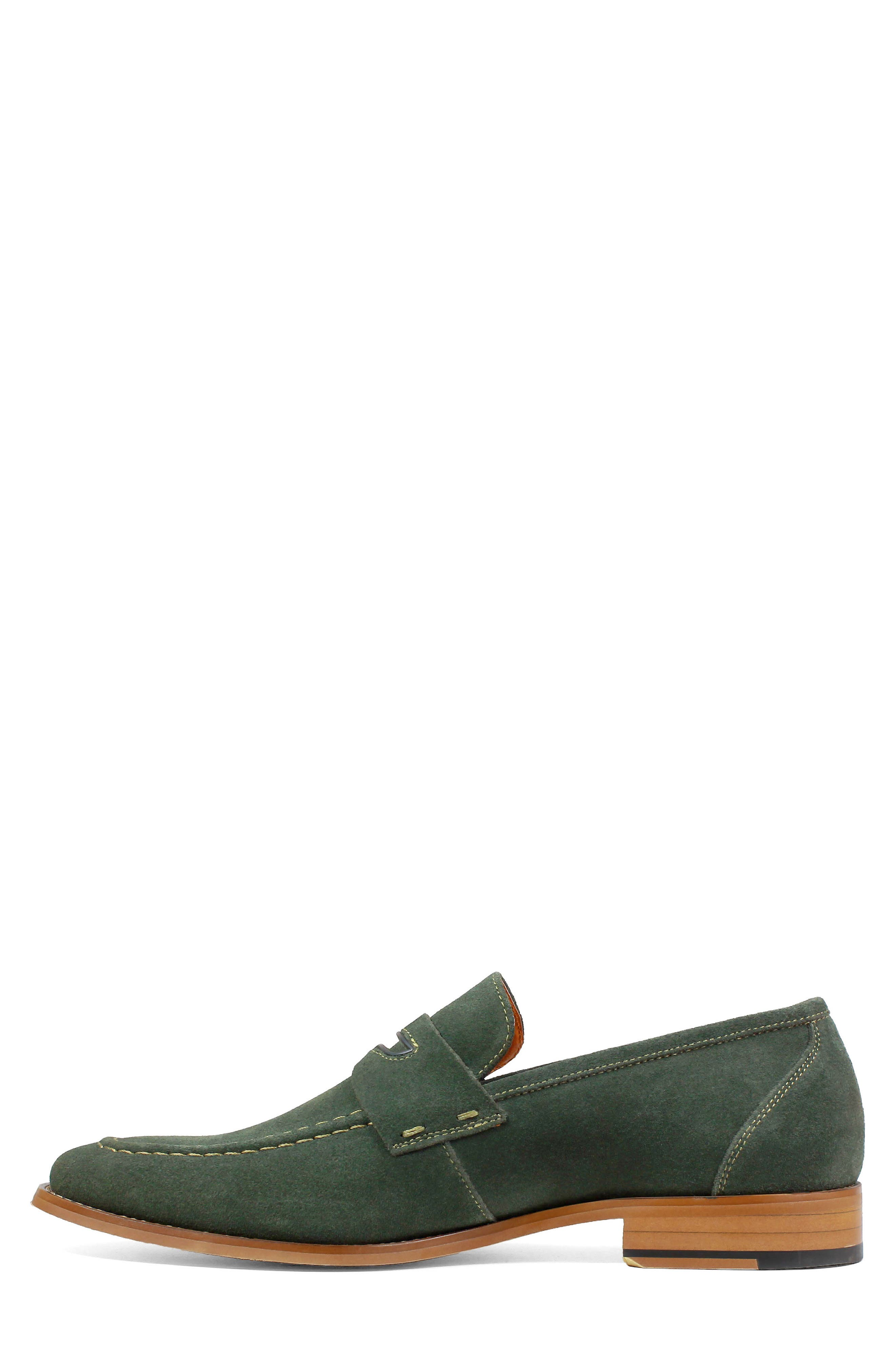 Colfax Apron Toe Penny Loafer,                             Alternate thumbnail 7, color,                             DARK GREEN SUEDE