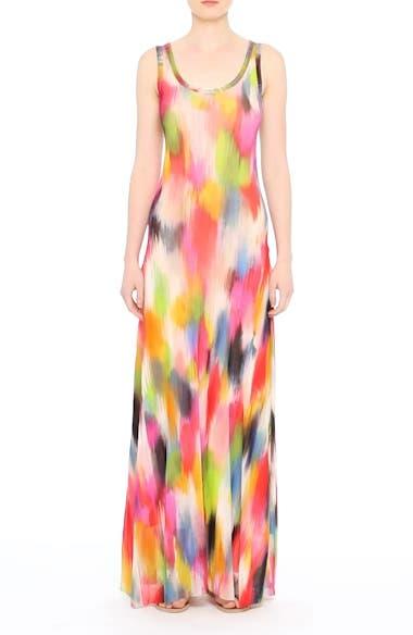 Brushstroke Print Tulle Maxi Dress, video thumbnail