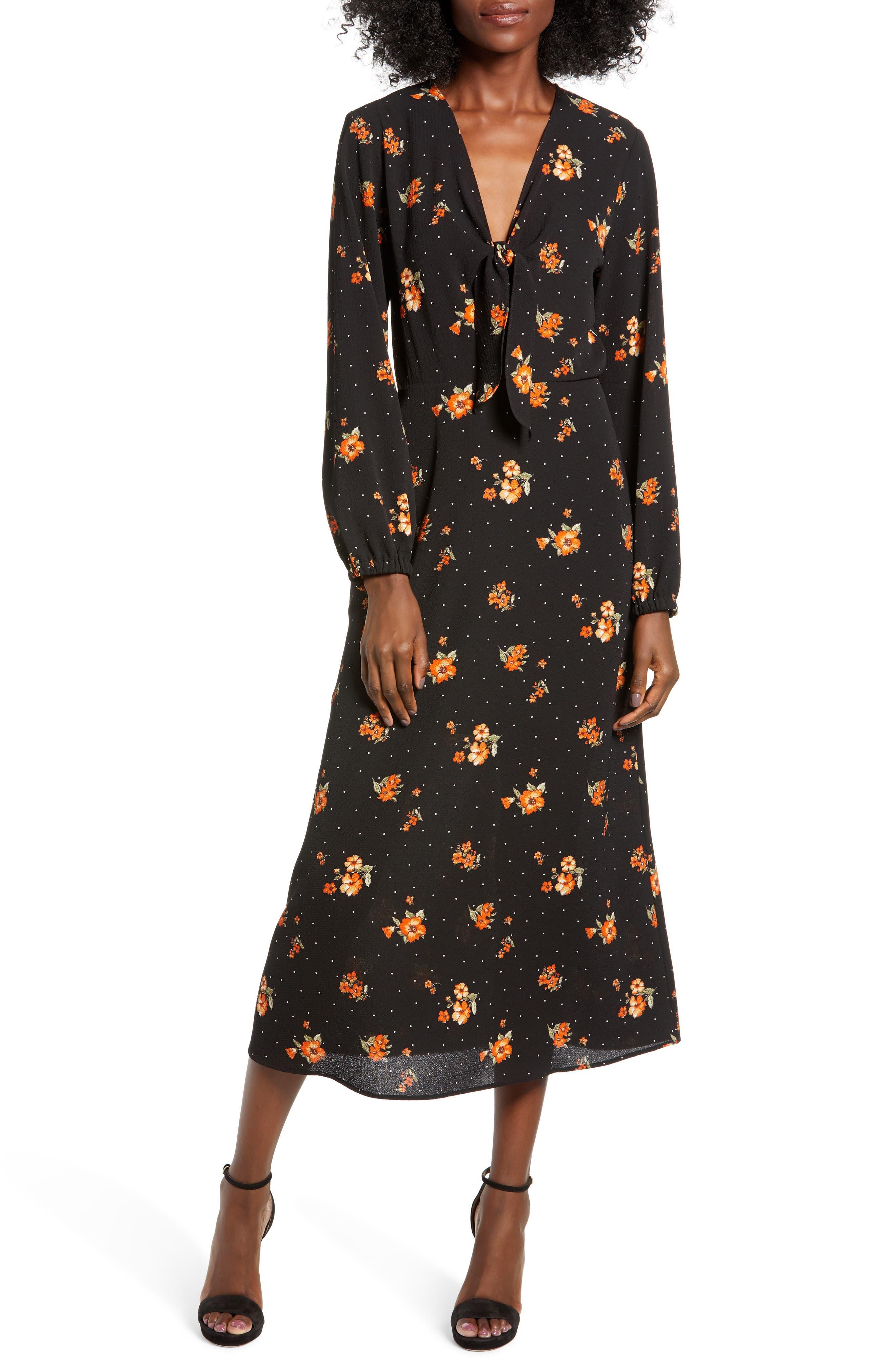 ALL IN FAVOR Tie Detail Midi Dress, Main, color, 001