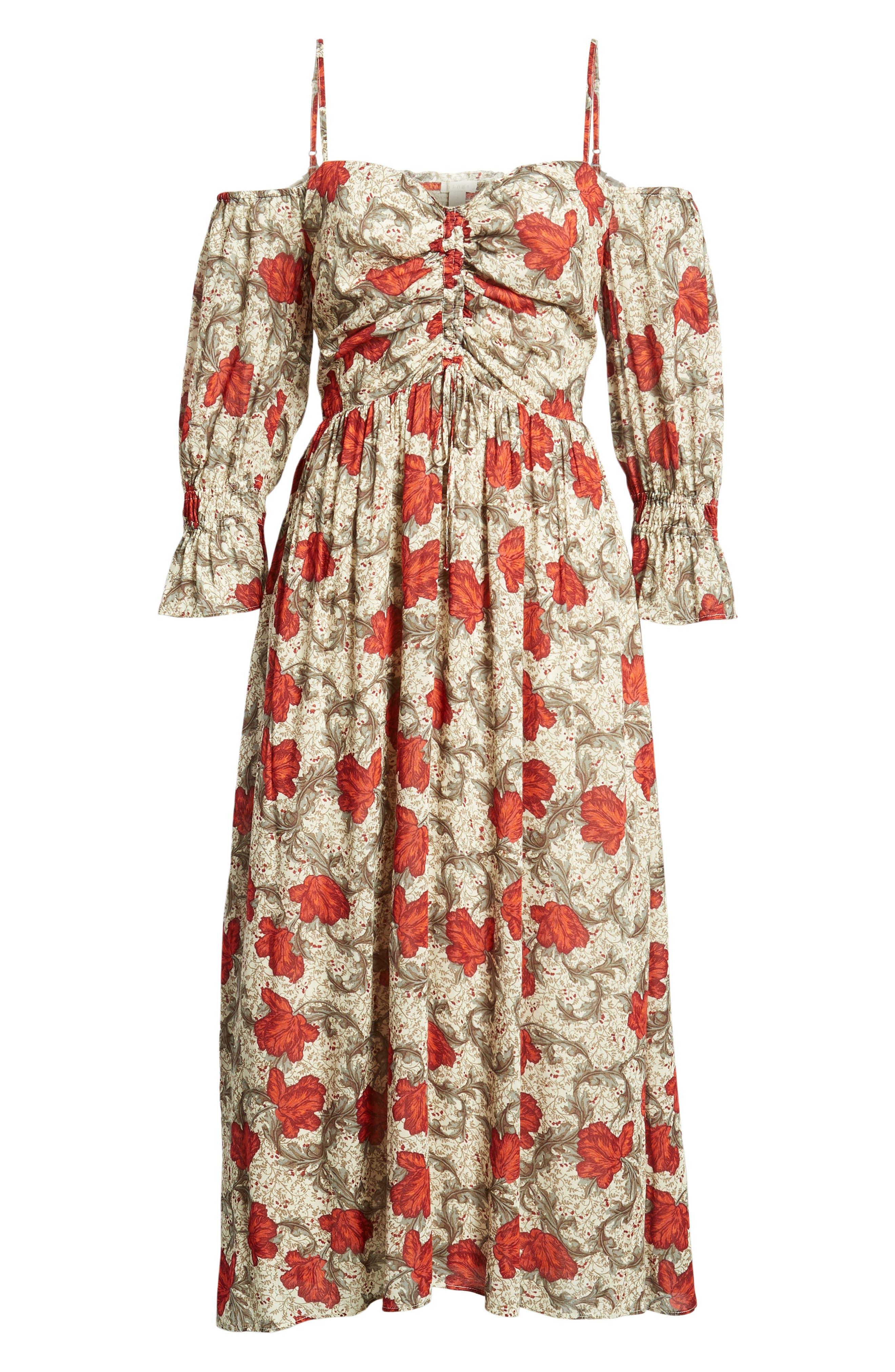 Smocked Back Cold Shoulder Dress,                             Alternate thumbnail 6, color,                             250