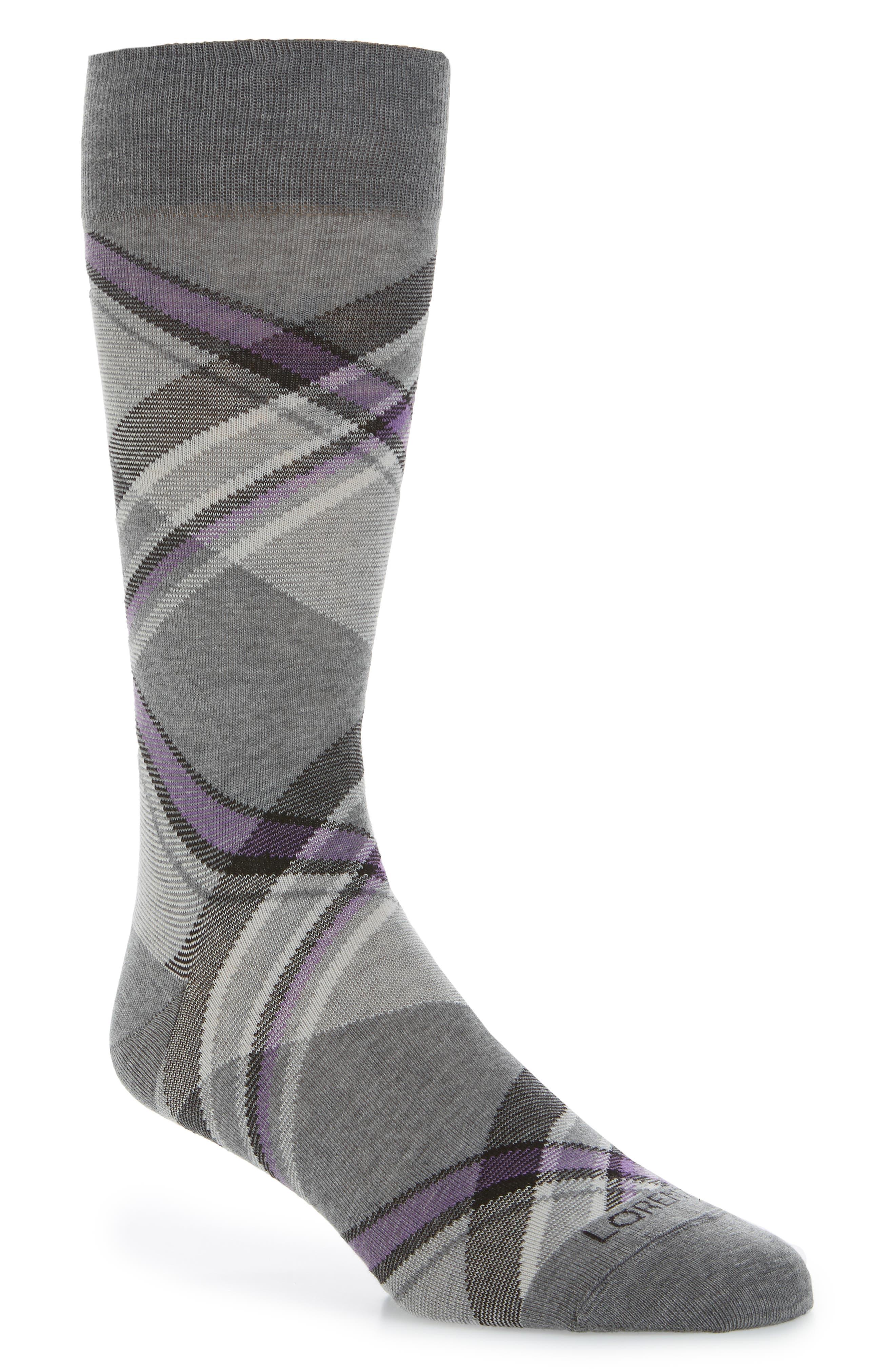Diagonal Plaid Crew Socks,                             Main thumbnail 1, color,                             054