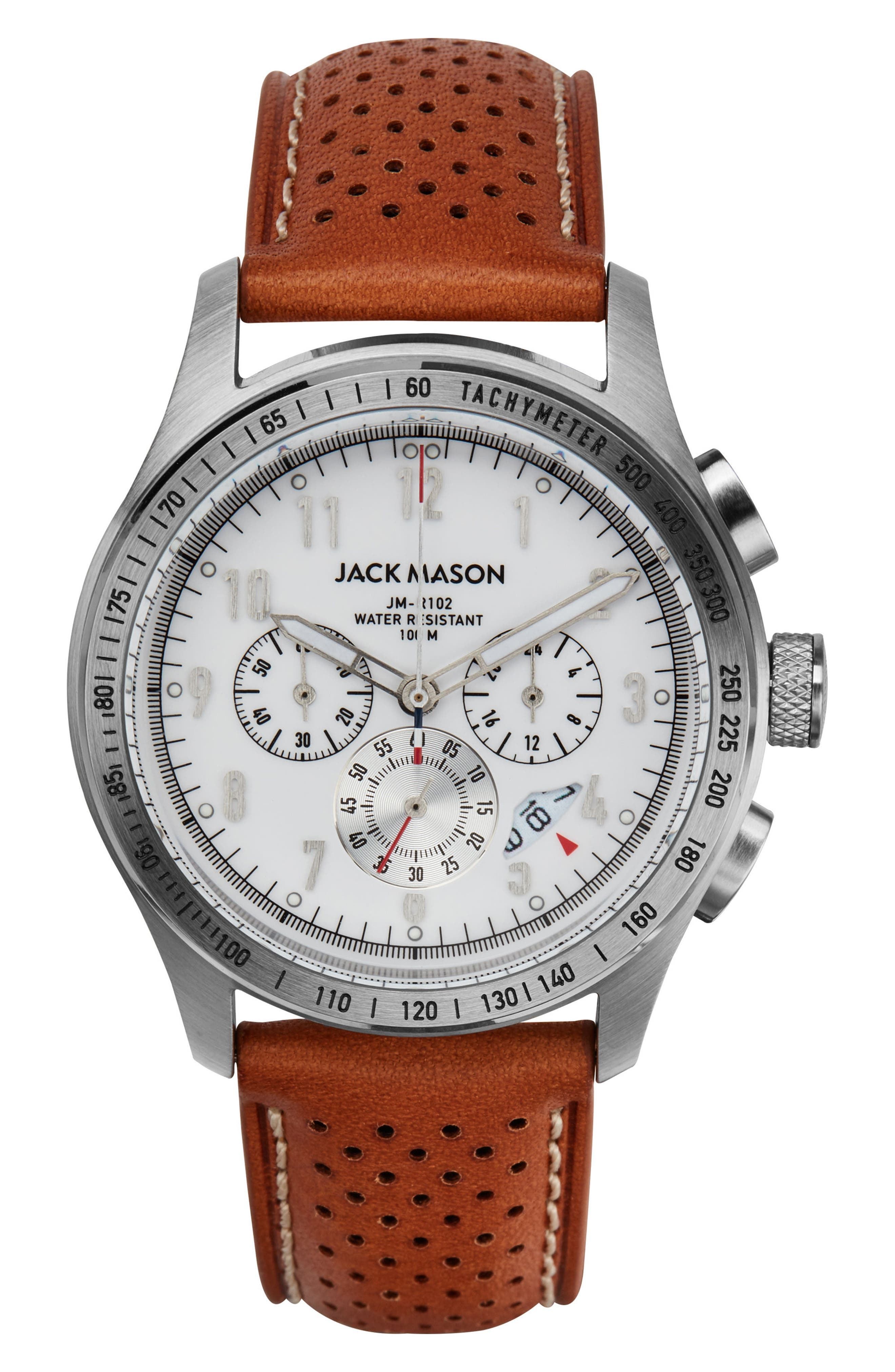 Racing Chronograph Leather Strap Watch, 42mm,                         Main,                         color, 250